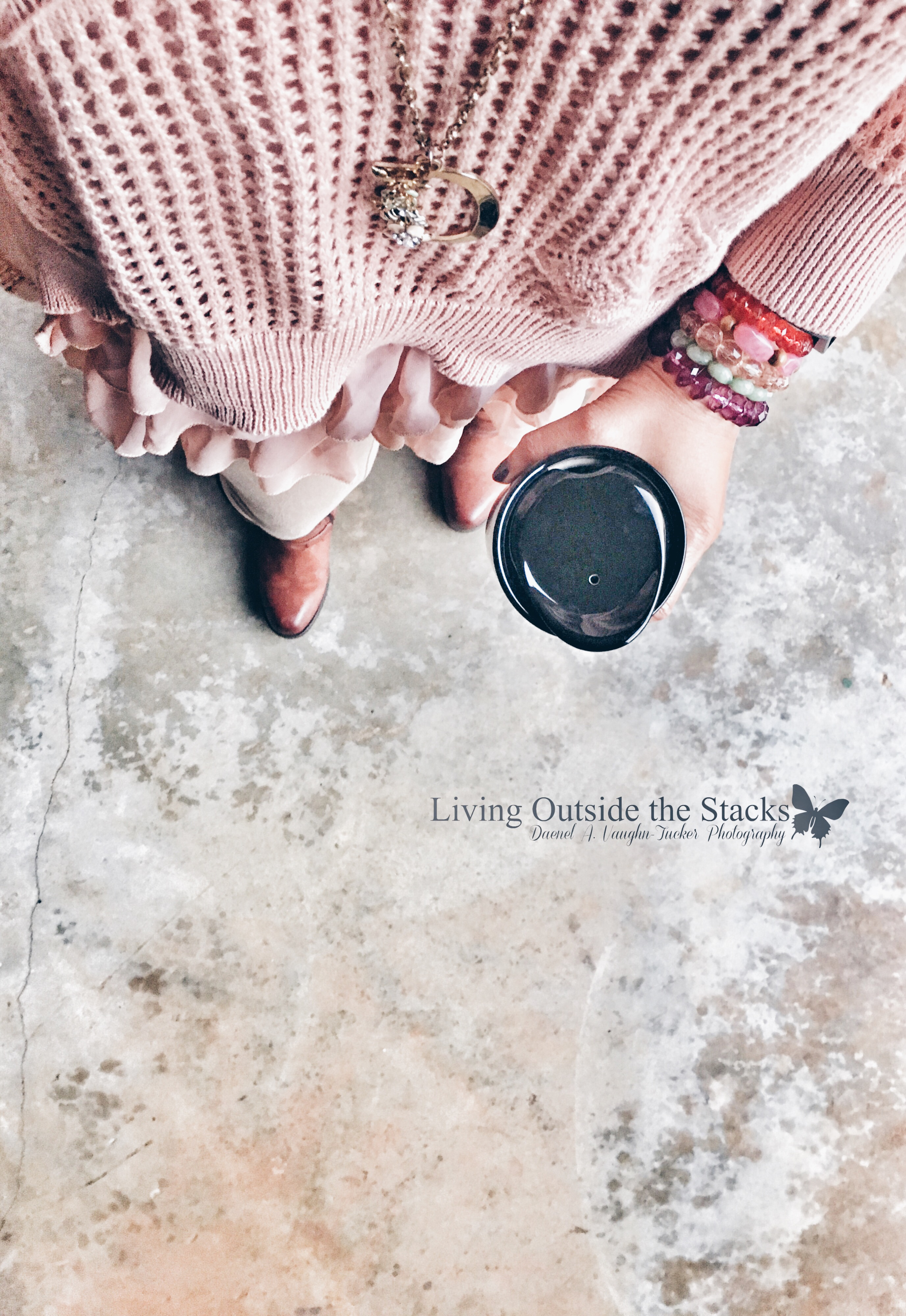 Pink Chiffon Sweater Tan Leggings and Brown Boots {living outside the stacks} #livingoutsidethestacks