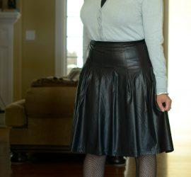 Blue Jeweled Cardigan Black Faux Leather Skirt Black Fishnets and Gray Mary Janes {living outside the stacks} #livingoutsidethestacks #librarianwardrobe #agelessblogger #styleover40