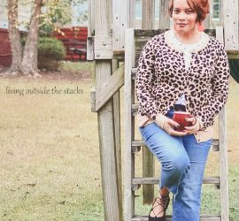 Leopard Cardi Polka Dot Tee Jeans and Wrap Around Black Flats {living outside the stacks}