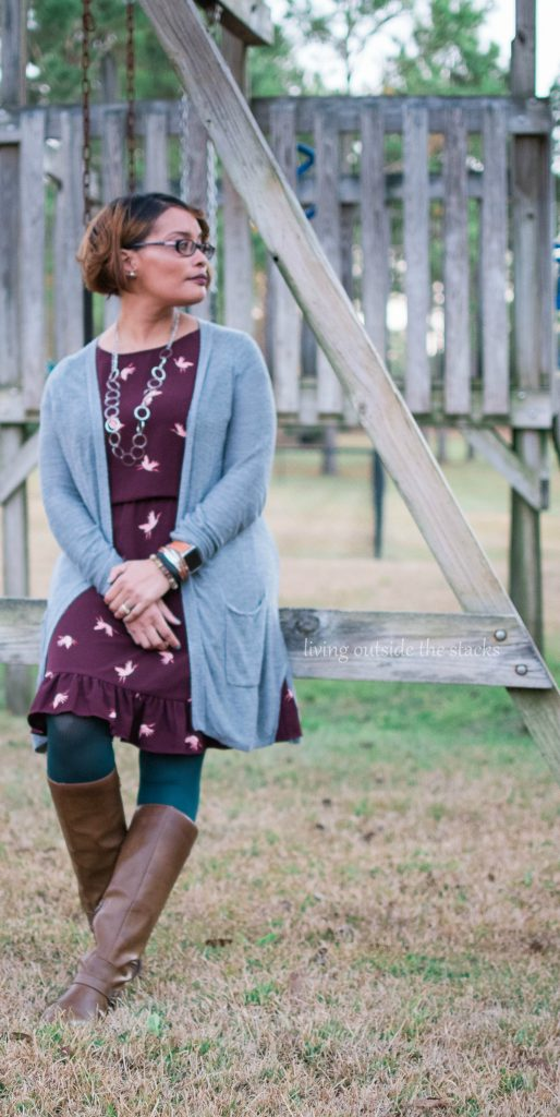 Gray Cardigan Burgundy and Coral Bird Dress Green Tights and Brown Boots {living outside the stacks} #AgelessStyleLinkUp #LivingOutsideTheStacks #LibrarianWardrobe