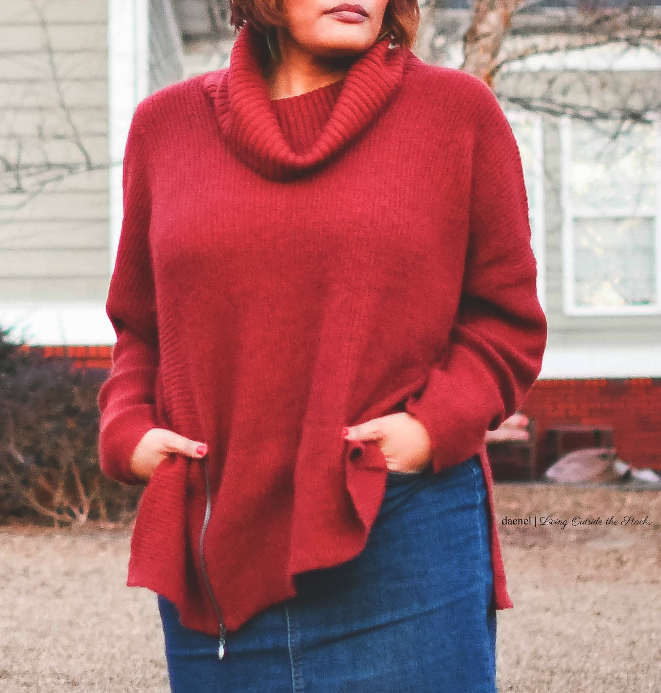 Oversized Burgundy Sweater Denim Skirt Burgundy Tights and Brown Boots {living outside the stacks}