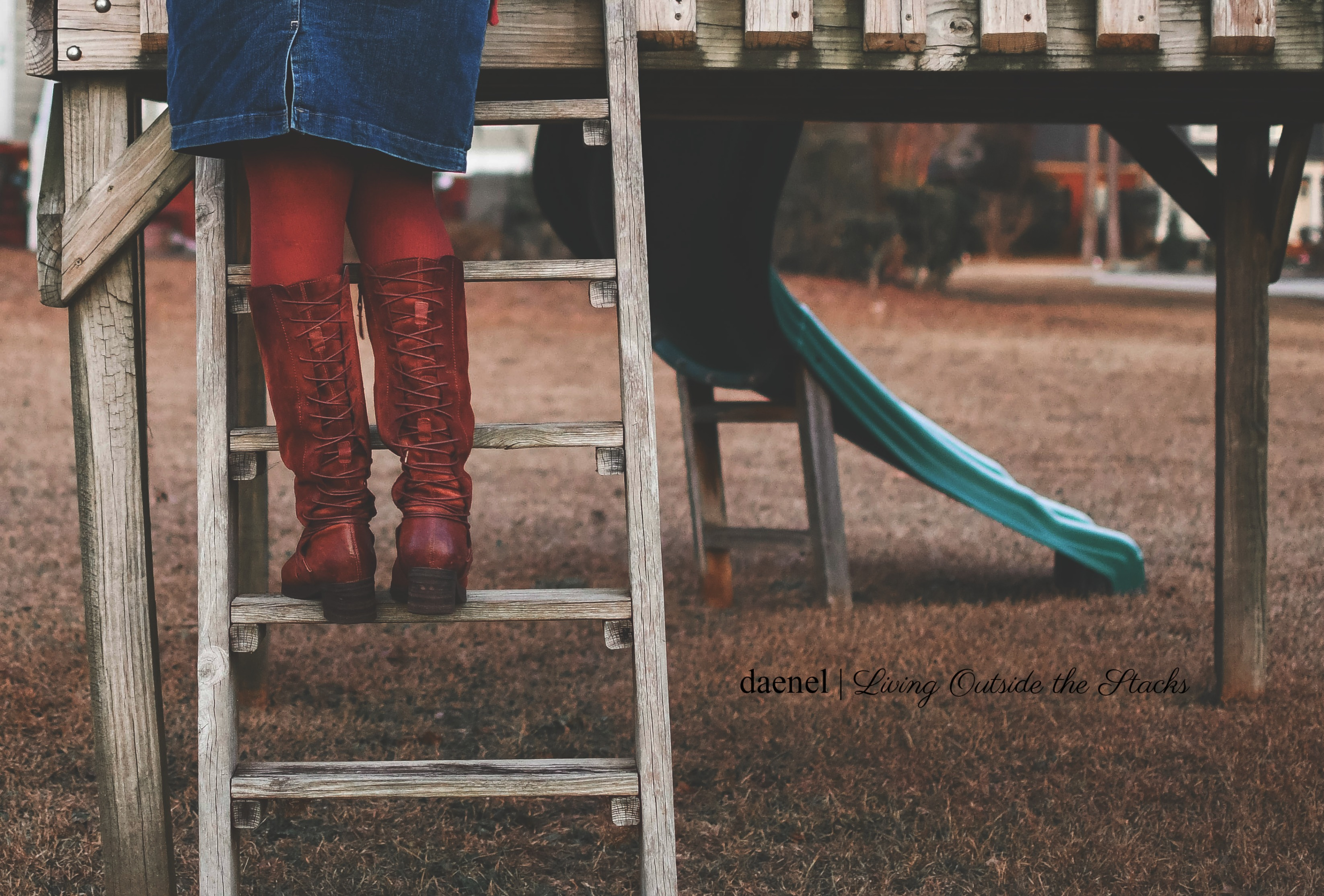 DAT_5869 Oversized Burgundy Sweater Denim Skirt Burgundy Tights and Brown Boots {living outside the stacks}