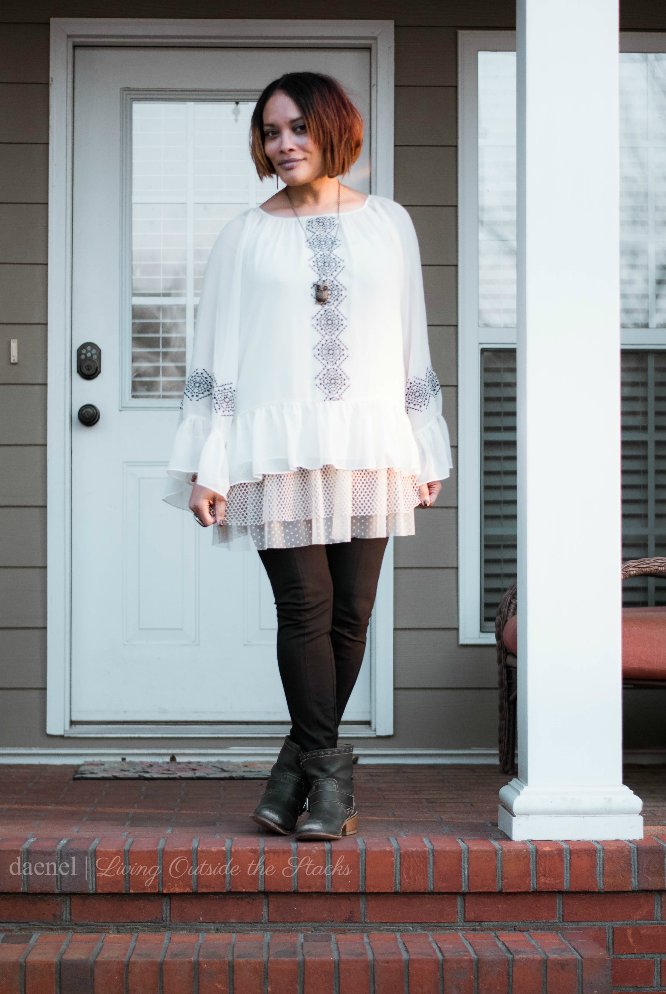Aztec Print Blouse Tulle Tunic Leggings and Black Booties {living outside the stacks}