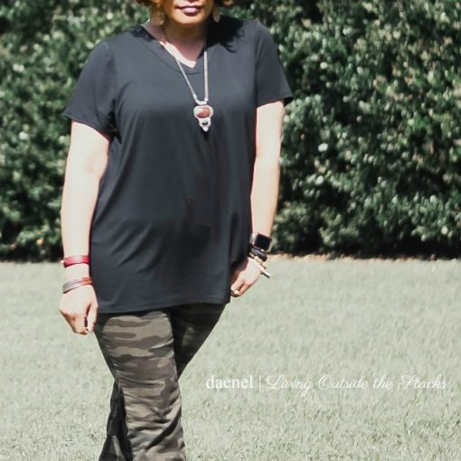 Black Tee Camo Pants and Black Ankle Wrap Flats {living outside the stacks}