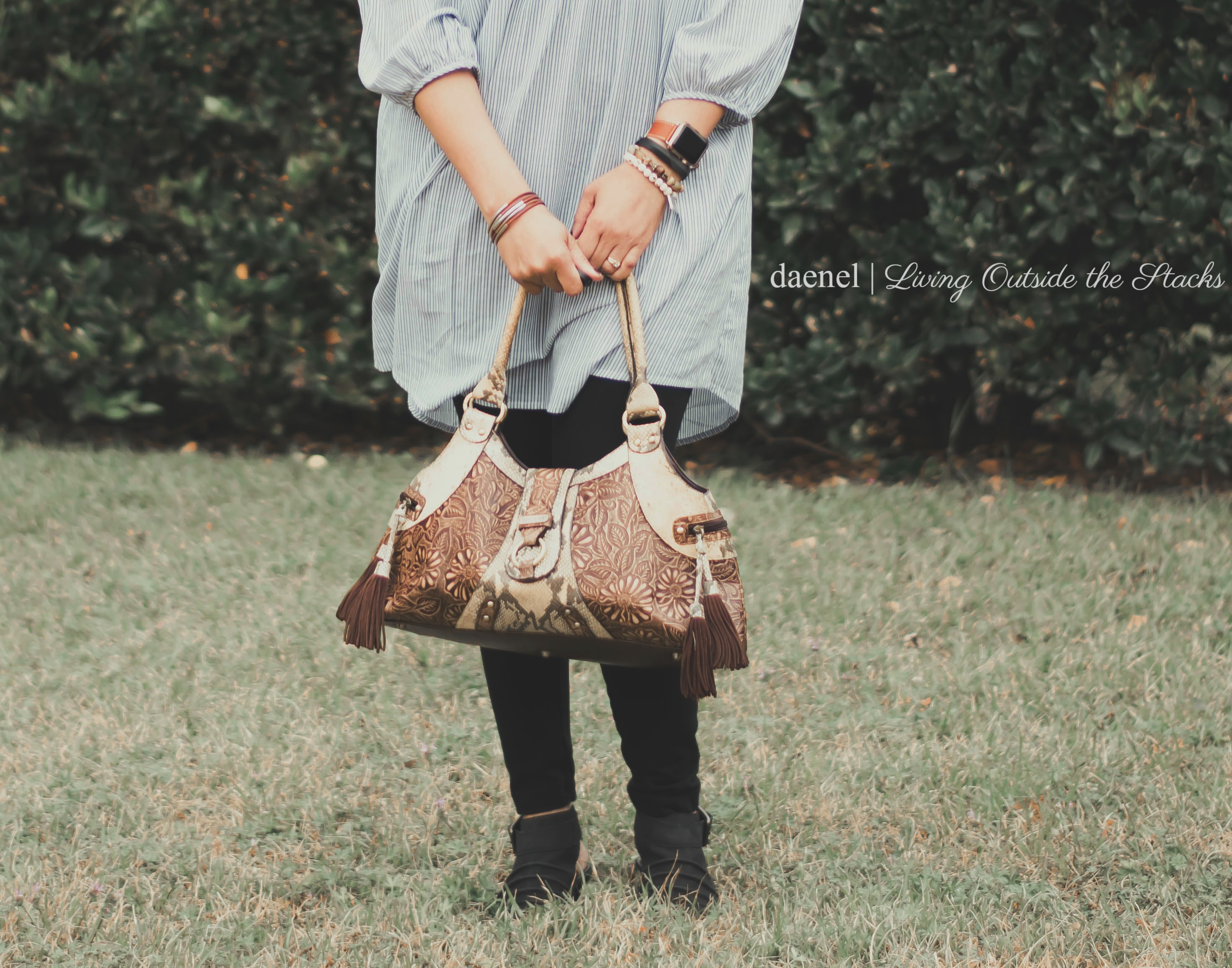 Striped Floral Embroidered Tunic Black Leggings Black Earth Shoes and Sharif Handbag {living outside the stacks}