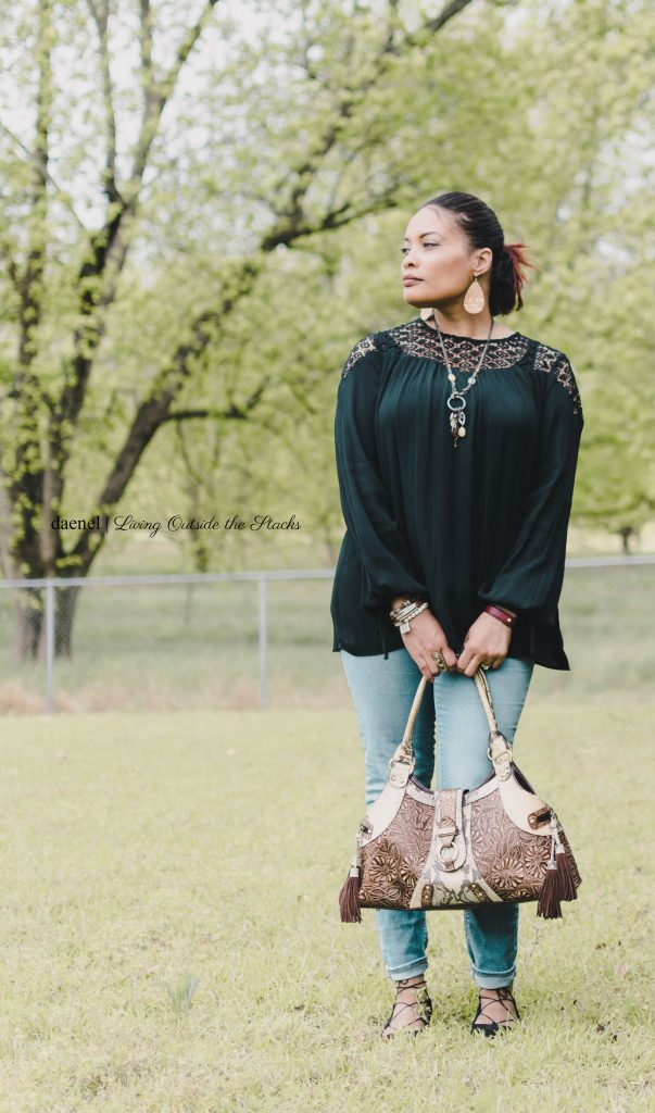 Black Peasant Blouse Jeans and Ankle Wrap Flats {living outside the stacks}