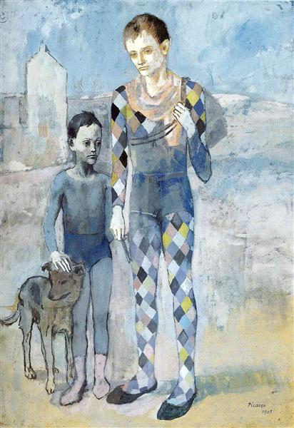 Two Acrobats with a Dog by Pablo Picasso {WikiArt Public Domain}