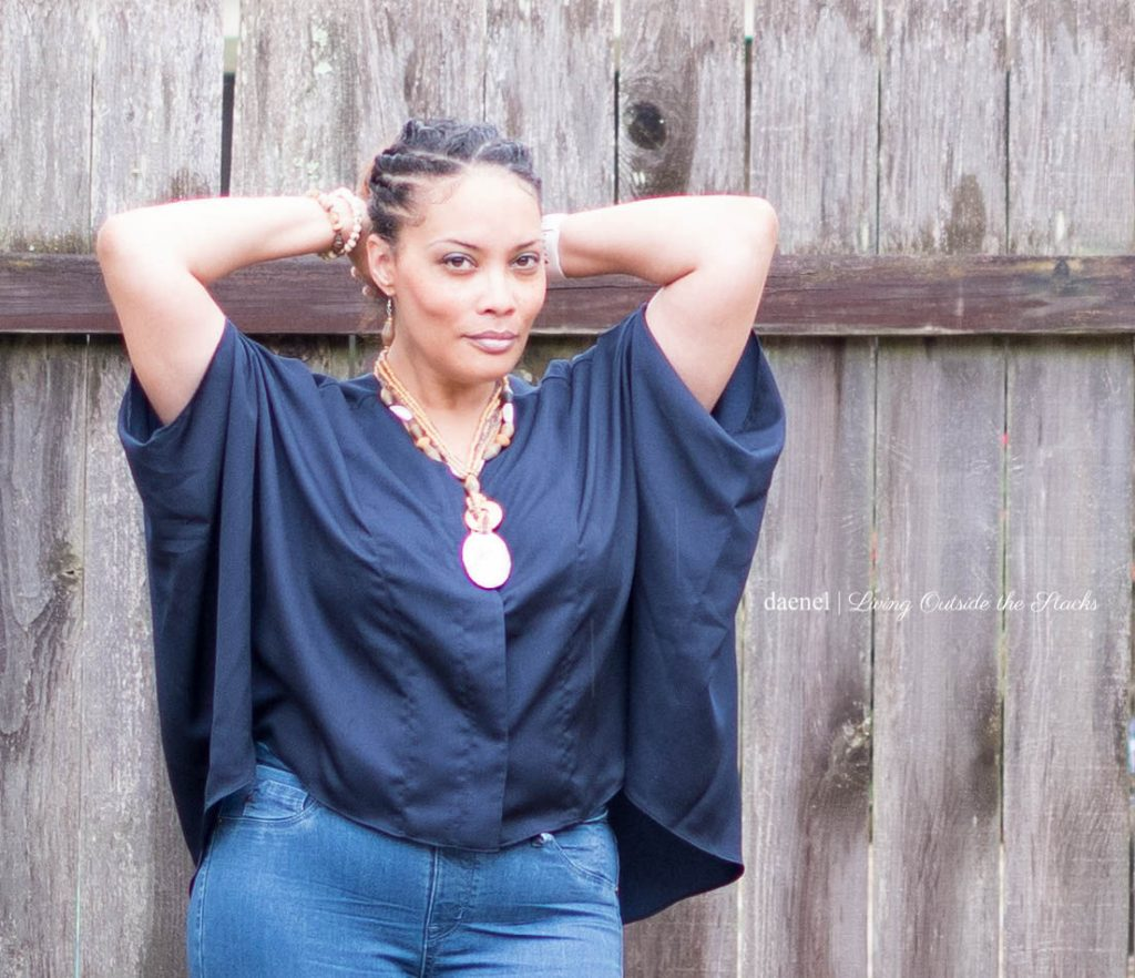Navy Scarf Top with Flare Leg Jeans by Laurie Felt {living outside the stacks} #NiceJeans