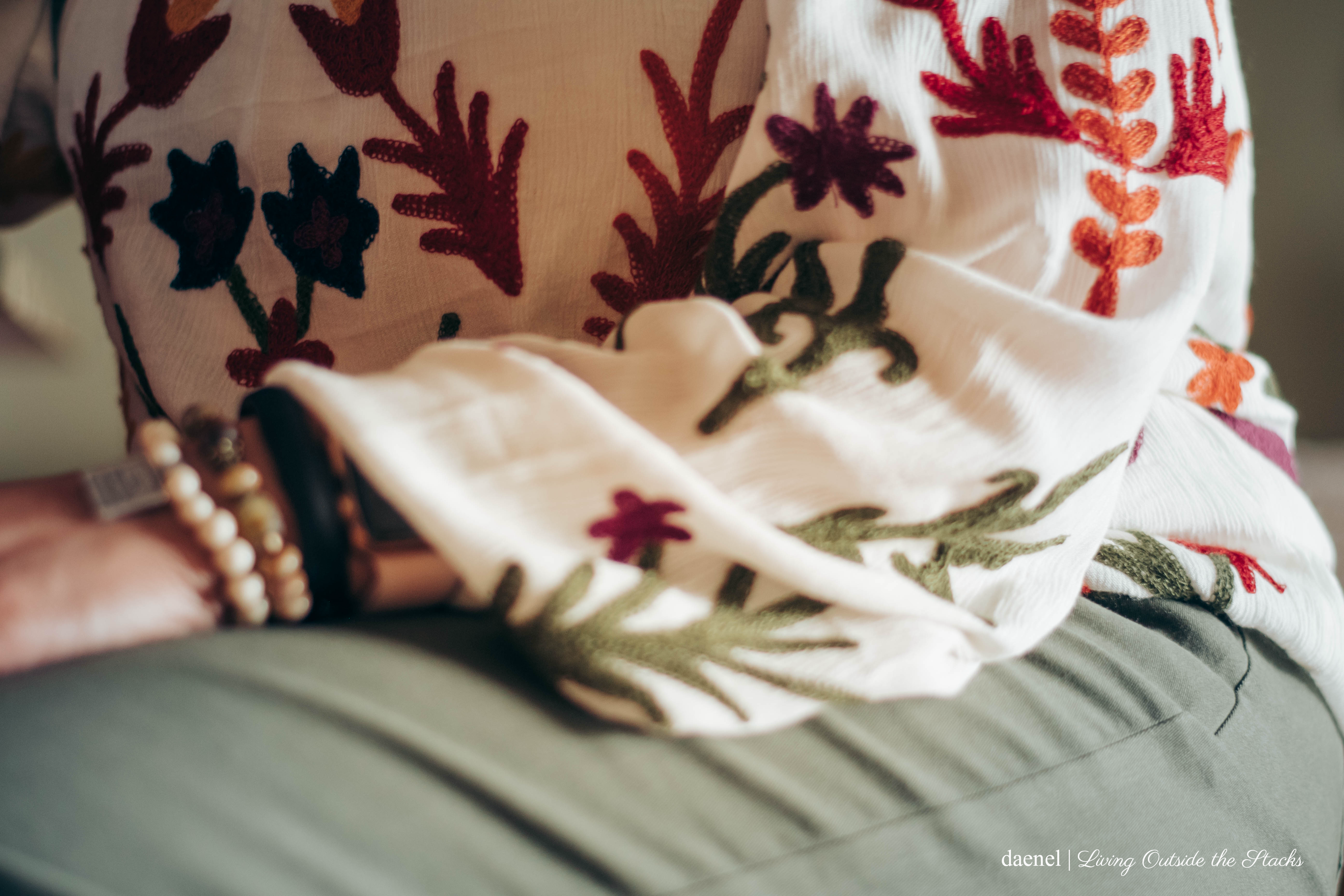Embroidered Boho Blouse Olive Cropped Pants and Mary Jane Shoes {living outside the stacks}