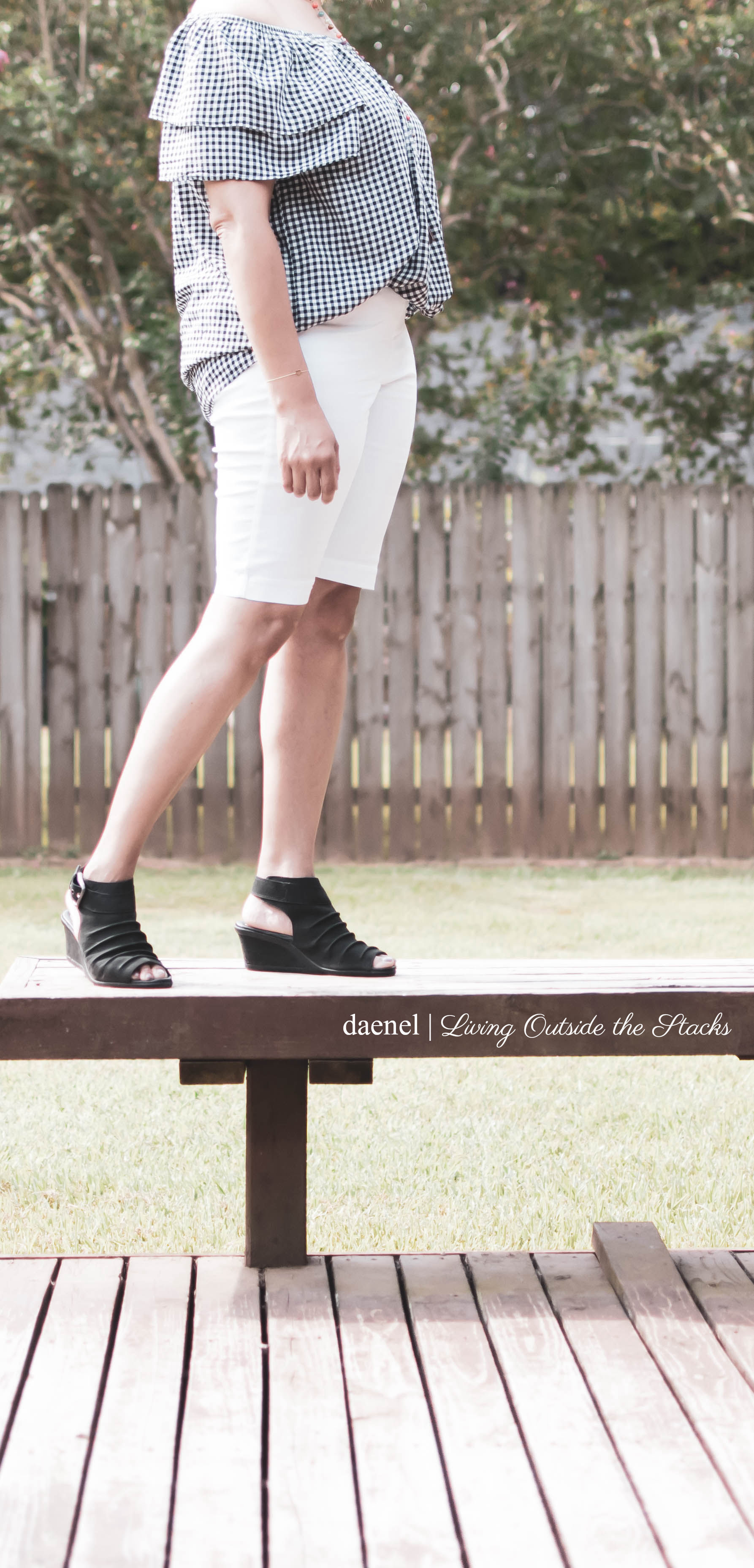 Gingham Top White Bermuda Shorts Shorts and Black Earth Sandals #AgelessStyle {living outside the stacks}