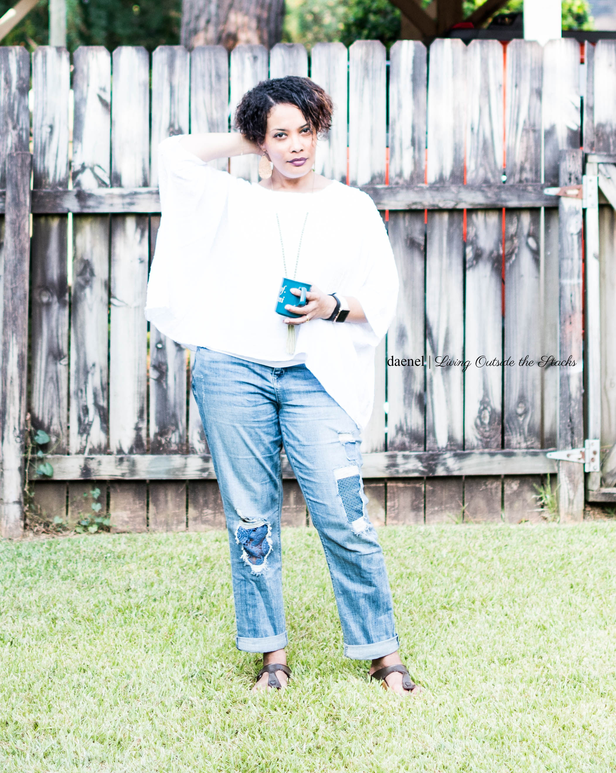 White Scarf Top by Ethyl Clothing Weekender Underpatch Jeans by Laurie Felt and Birkenstock Giza Sandals {living outside the stacks} #StyleImitatingArt