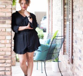 Daenel T {living outside the stacks} Style Imitating Art Black Romper with Black Ankle Wrap Flats