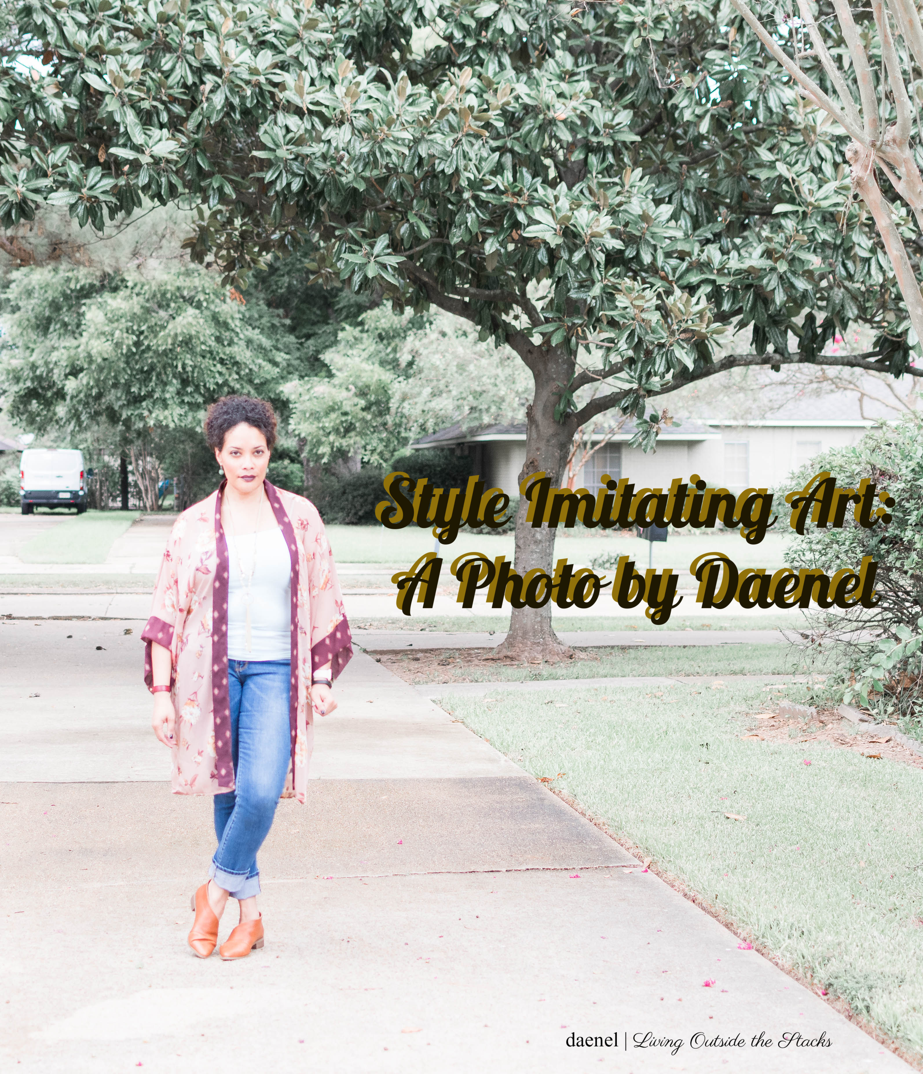 Kimono Turquoise Tank Jeans and Brown Shoes for Style Imitating Art {living outside the stacks}