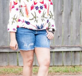 Embroidered Boho Top by Laurie Felt Distressed Denim Shorts from Target and Camel Sandals from Zulily {living outside the stacks}