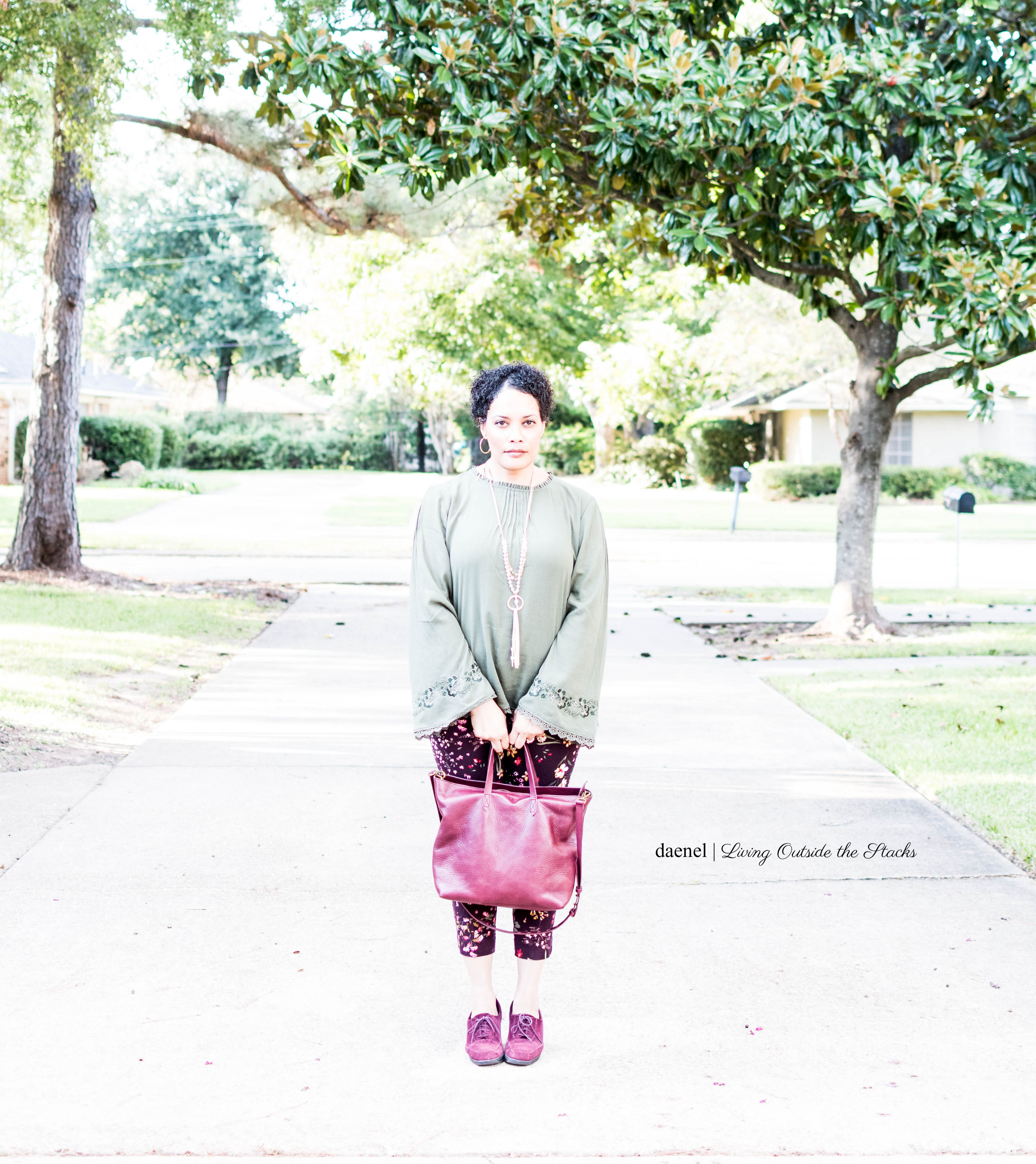 Olive Bell Sleeve Top Burgundy Floral Pixie Pants with Burgundy Booties by Clark with Madewell Leather Travel Zip Top Tote {living outside the stacks}