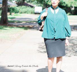 Green Tie Neck Blouse Black Skirt and Purple Velvet Mary Janes {living outside the stacks} #StyleImitatingArt