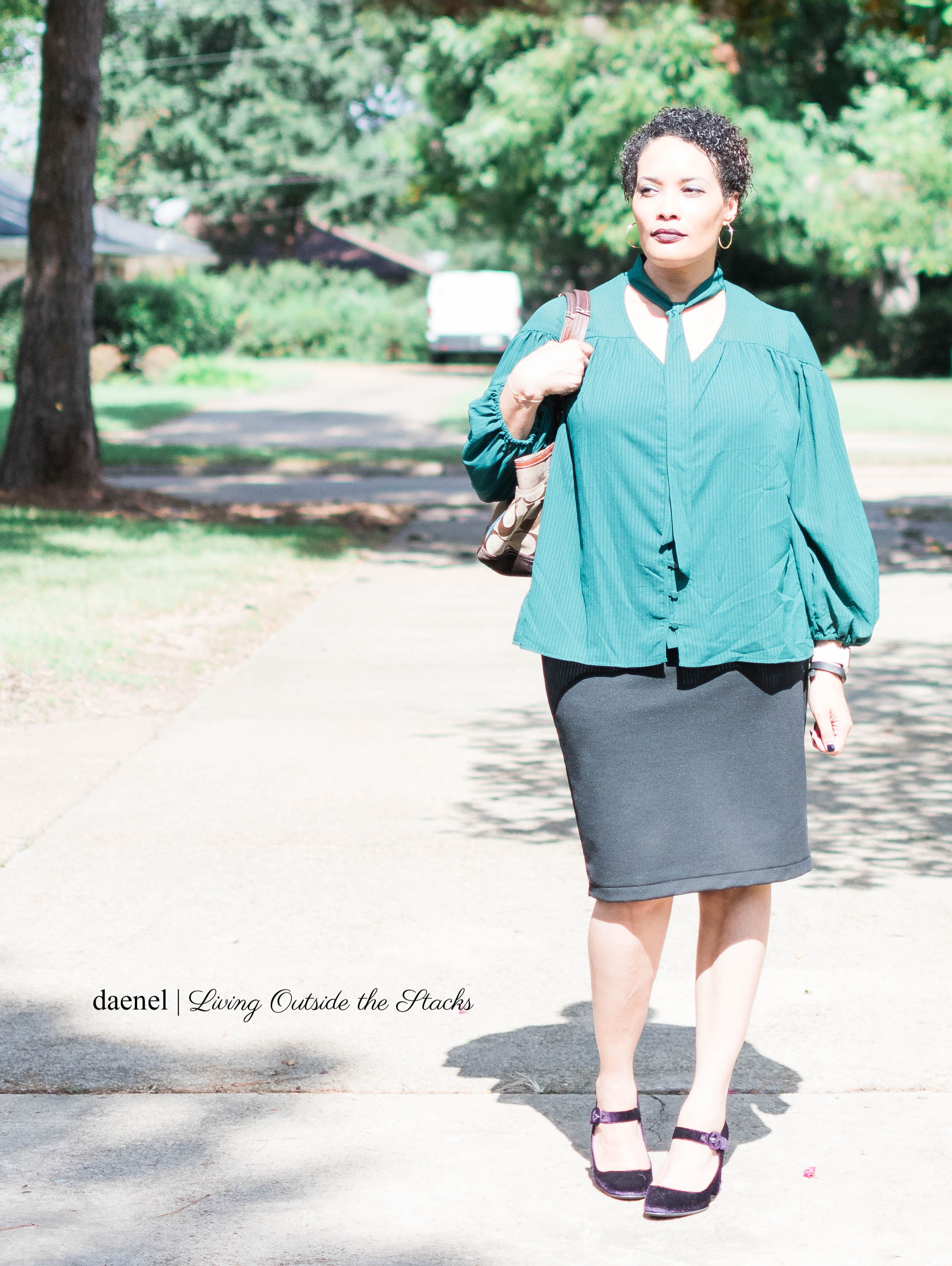 Green Tie Neck Blouse Black Skirt and Purple Velvet Mary Janes {living outside the stacks} #StyleImitatingArt