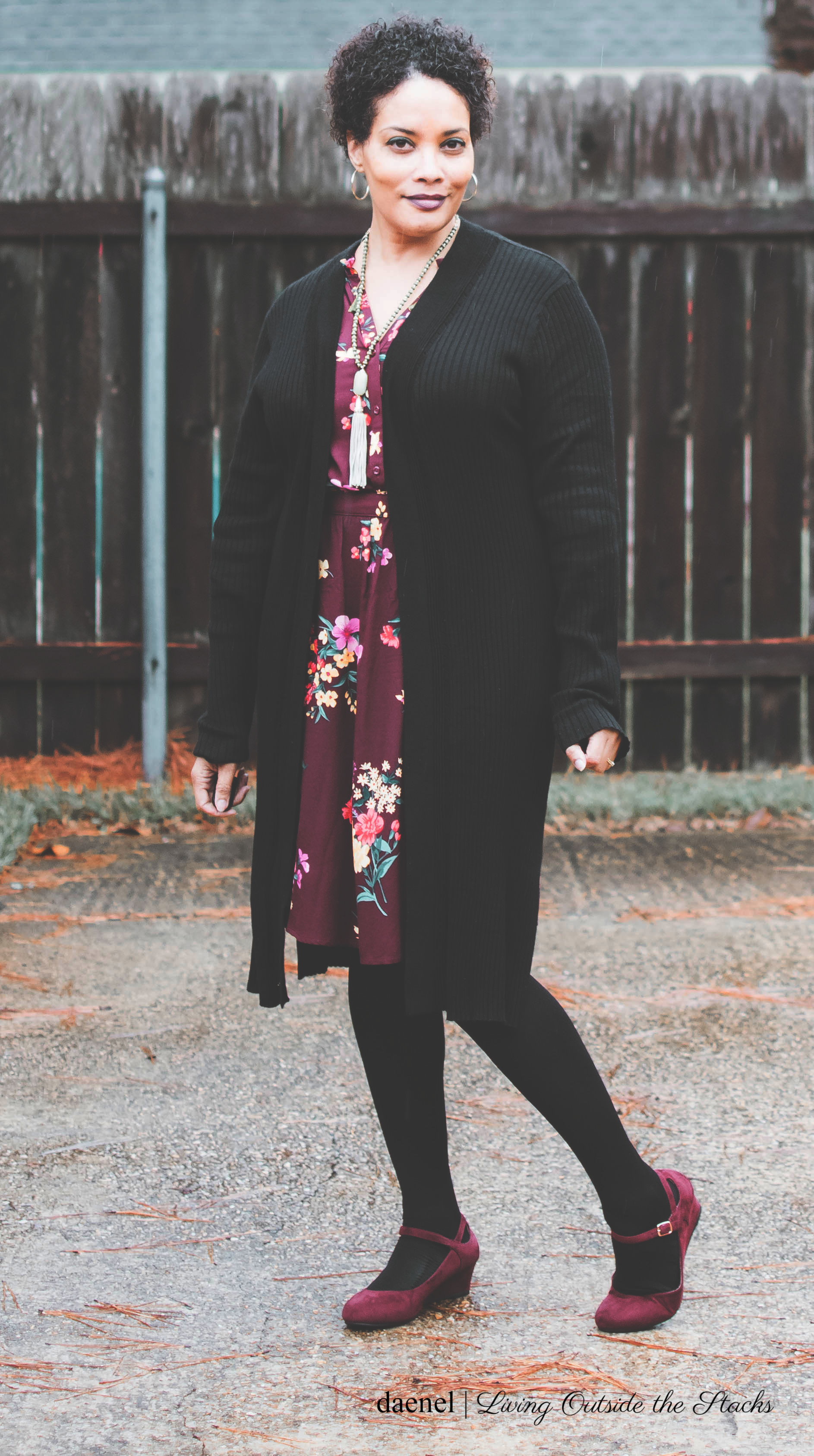 Black Maxi Cardi Old Navy Burgundy Floral Dress Black Tights and Burgundy Mary Jane Wedges {living outside the stacks}