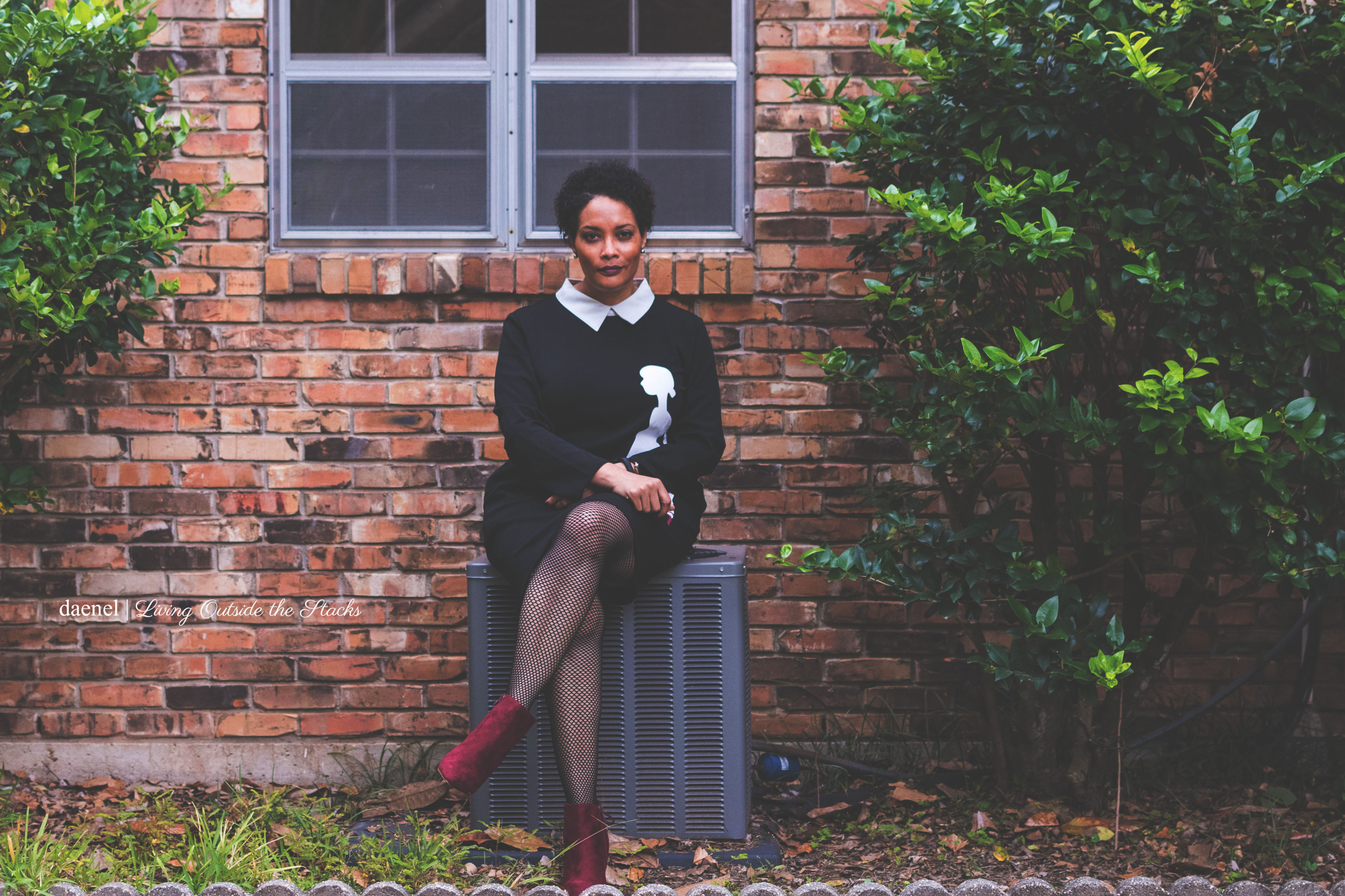 Zulily Dress with Black Tights and Burgundy Shoes {living outside the stacks} Fab Forties Goth Vibes
