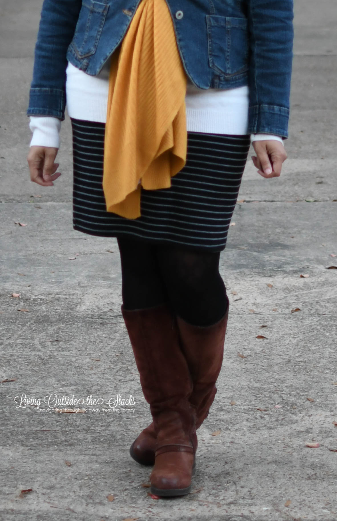 Zenni Glasses Mustard Scarf Denim Jacket Striped Skirt Black Tights and Brown Boots {living outside the stacks}