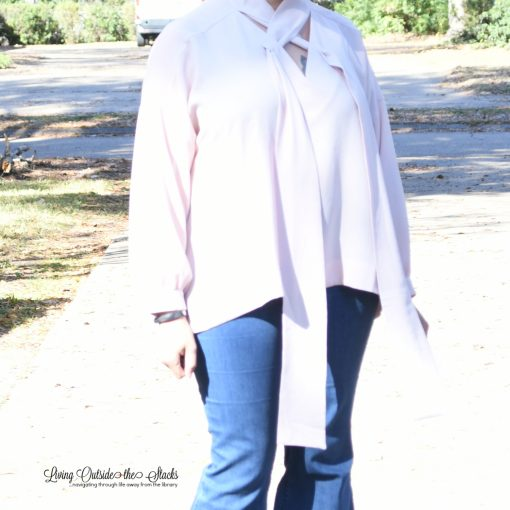 Laurie Felt Criss Cross Scarf Blouse Laurie Felt Silky Denim Pull On Flare Leg Jeans and Lori Goldstein Collection Mixed Media Block Heel {living outside the stacks} Style Imitating Art