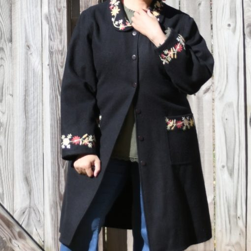 Vintage Embroidered Coat and Laurie Felt Silky Pull On Flare Leg Jeans {living outside the stacks} Ageless Style