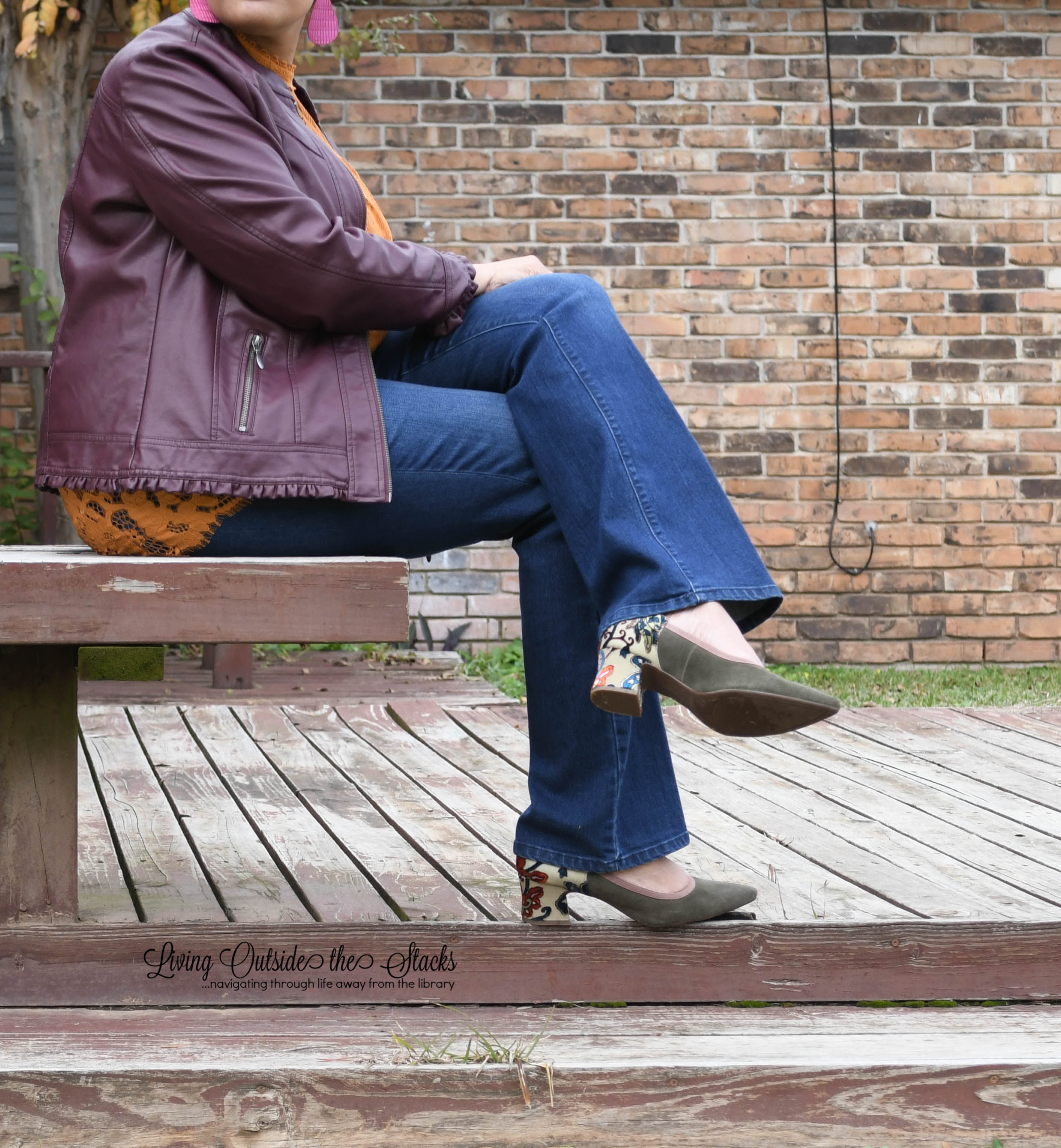 Burgundy Faux Leather Jacket Mustard Lace Blouse Trouser Jeans and Logo Pumps {living outside the stacks} #StyleImitatingArt