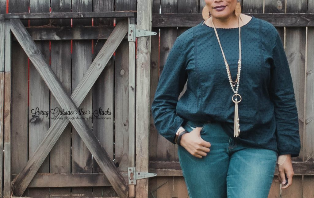 Navy Eyelet Top with Jeans and Navy Mary Janes {living outside the stacks} Style Imitating Art