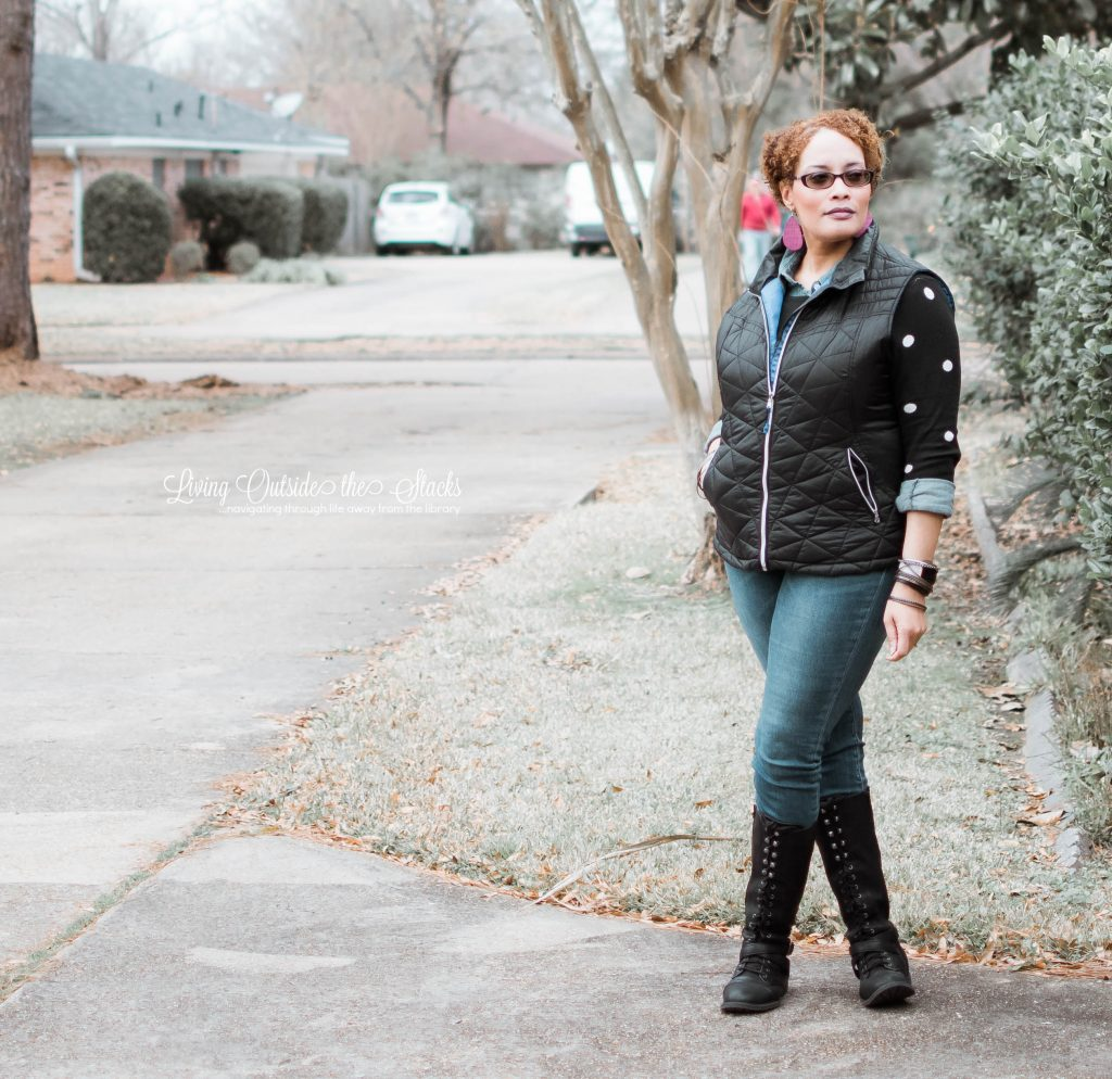 Navy Puffer Vest Black Polka Dot Sweater Denim Shirt Jeans and Black Boots {living outside the stacks} #AgelessStyleLinkup