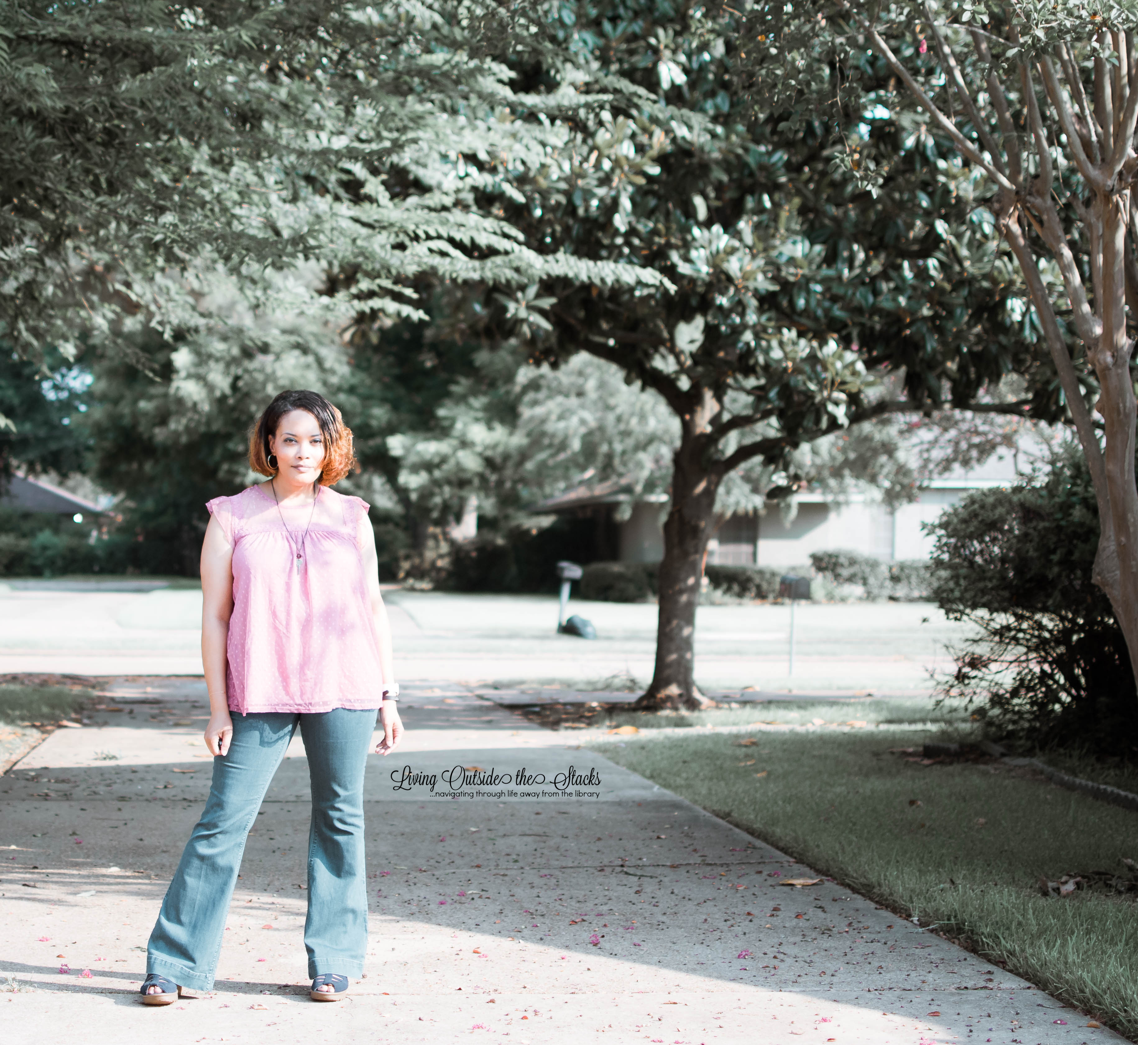 Pink Swiss Dot Baby Doll Top Laurie Felt Silky Curve Flare Leg Jeans and Blue Sketchers Sandals {living outside the stacks} #StyleImitatingArt