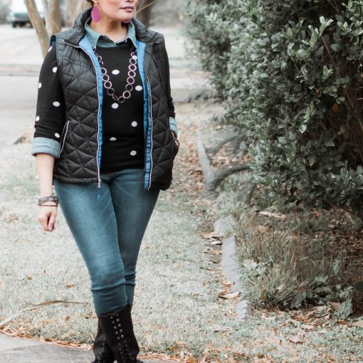 Navy Puffer Vest Black Polka Dot Sweater Denim Shirt Jeans and Black Boots {living outside the stacks} #AgelessStyleLinkup