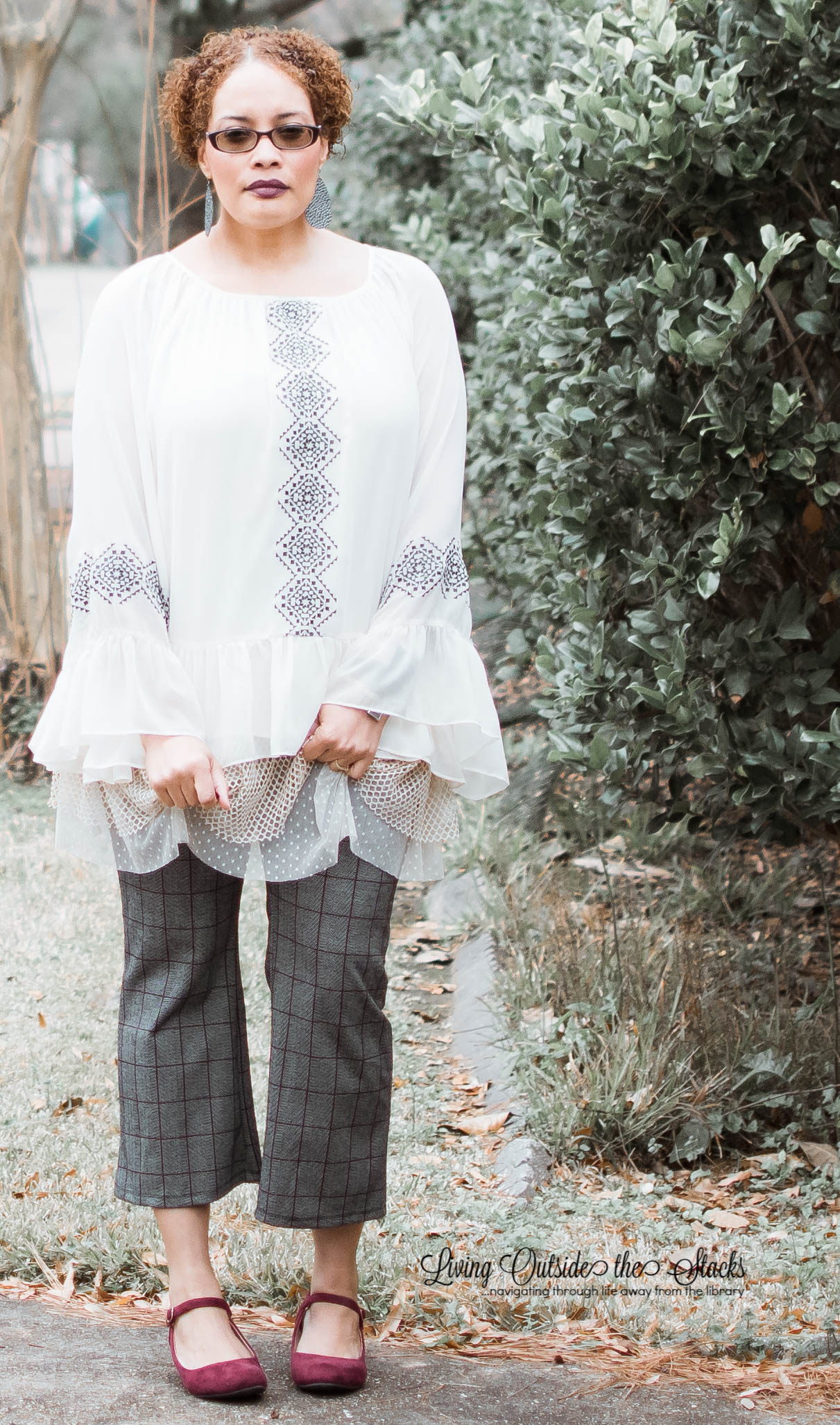 Tan Cardigan Laurie Felt Aztec Blouse Tweed Cropped Pants and Burgundy Shoes {living outside the stacks}