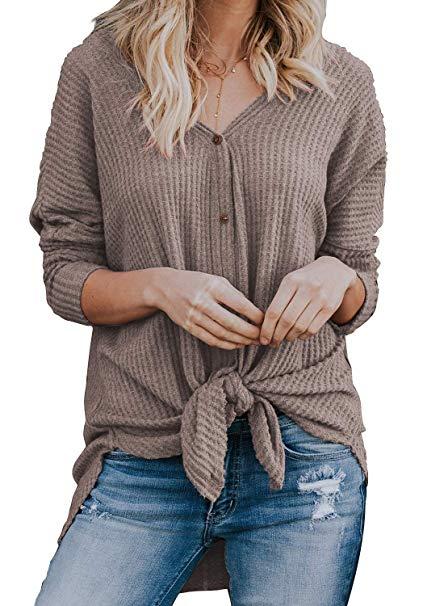 Tie Waist Waffle Knit Shirt {Amazon}