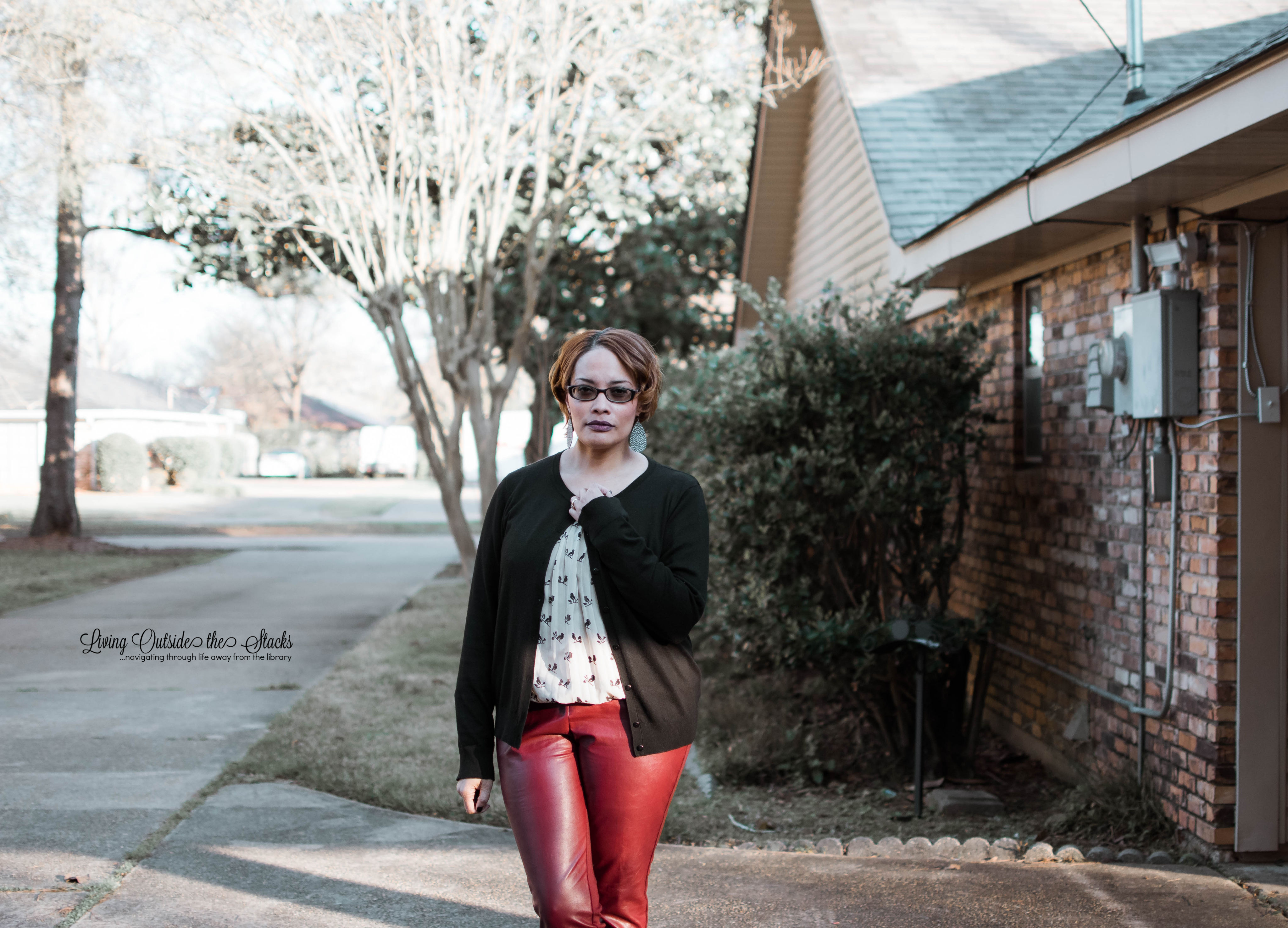 Black Cardi Bird Print Blouse Faux Leather Pants and Black Flats {living outside the stacks}