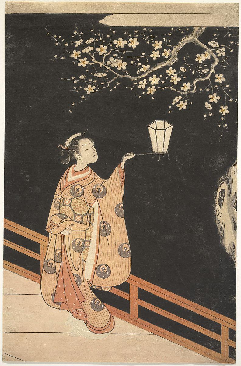 Woman Admiring Plum Blossoms at Night by Suzuki Harunobu