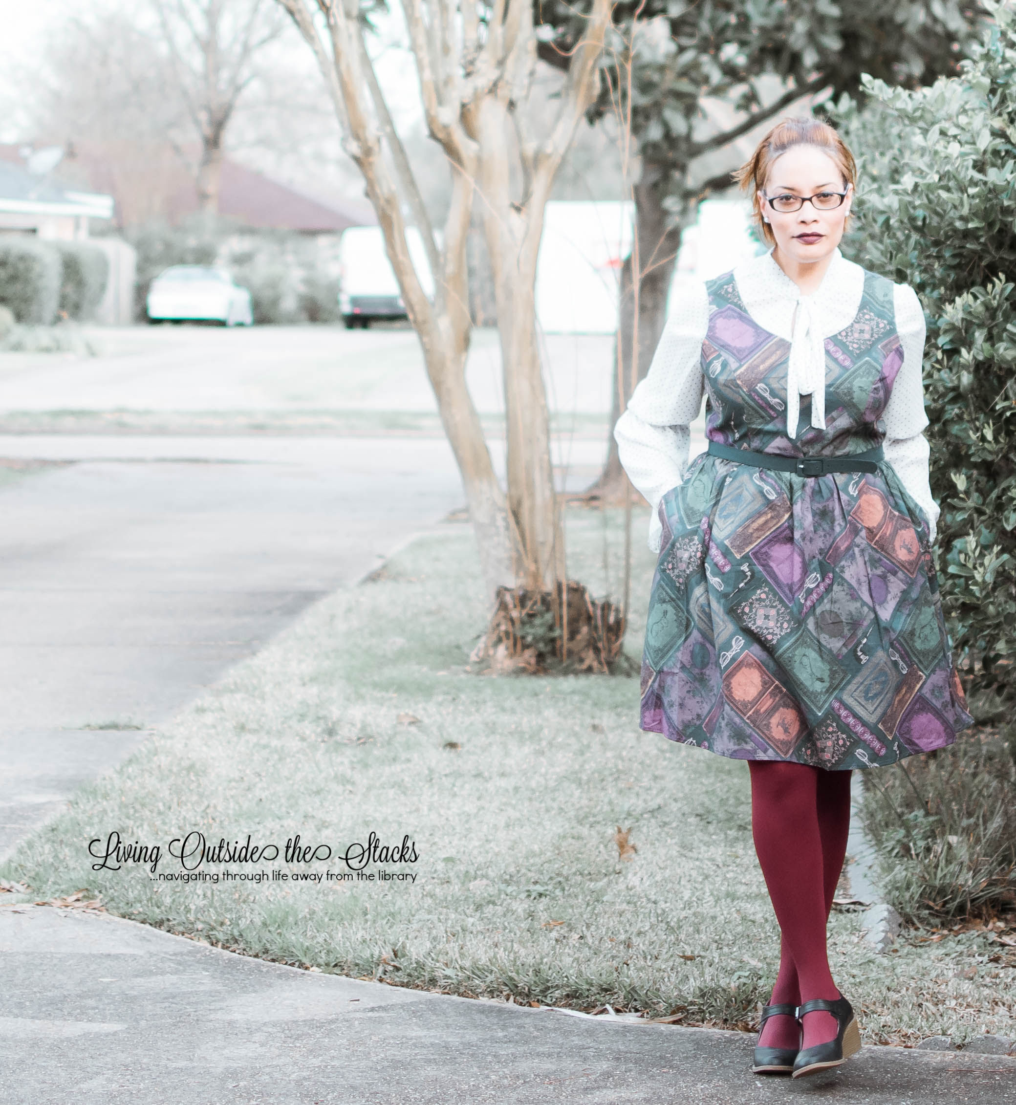Polka Dot Blouse Library Book Dress Burgundy Tights and Navy Shoes {living outside the stacks}