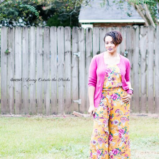 Daenel T {living outside the stacks} Pink Cardi Yellow Floral Jumpsuit