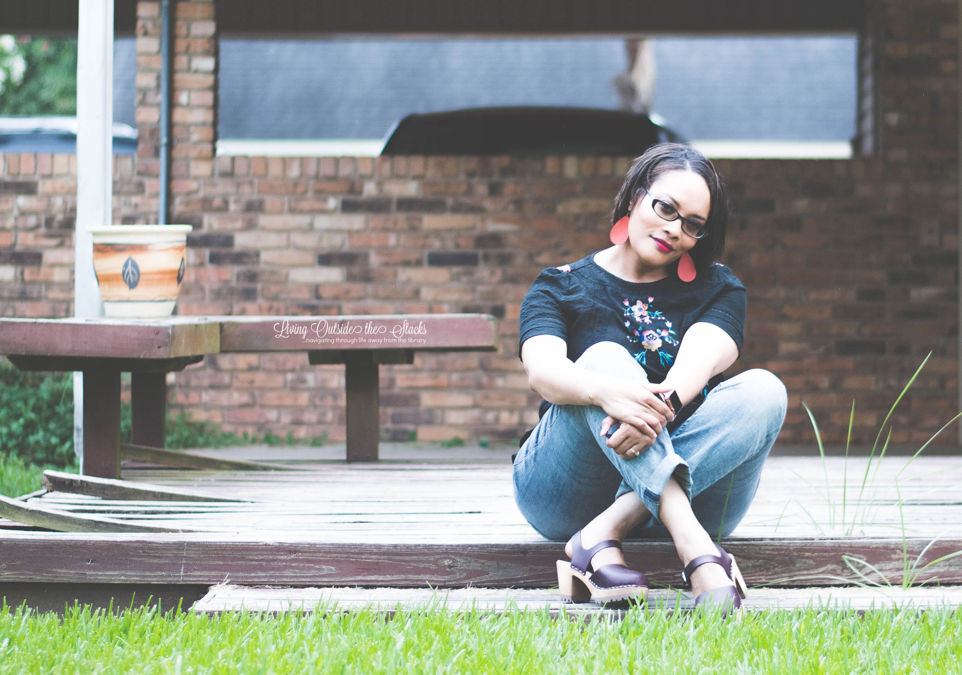 Embroidered Black Top Laurie Felt Boyfriend Jeans and Mia Clogs {living outside the stacks}