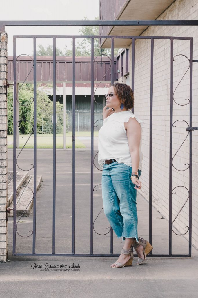 Daenel T {living outside the stacks} Cream Sleeveless Top Step Hem Jeans and Miz Mooz Sandals