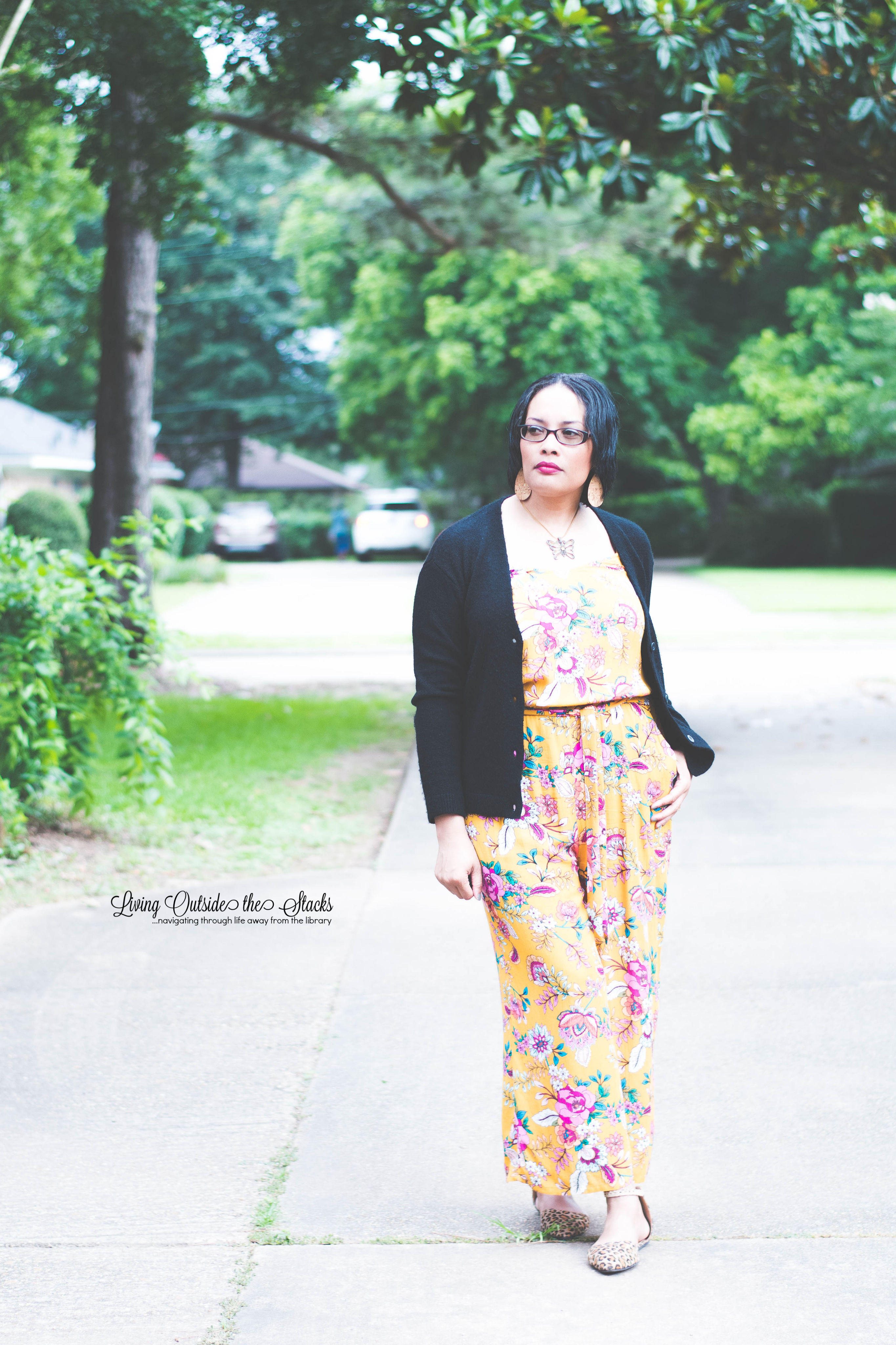 Daenel T {living outside the stacks} Black Cardi Yellow Jumpsuit