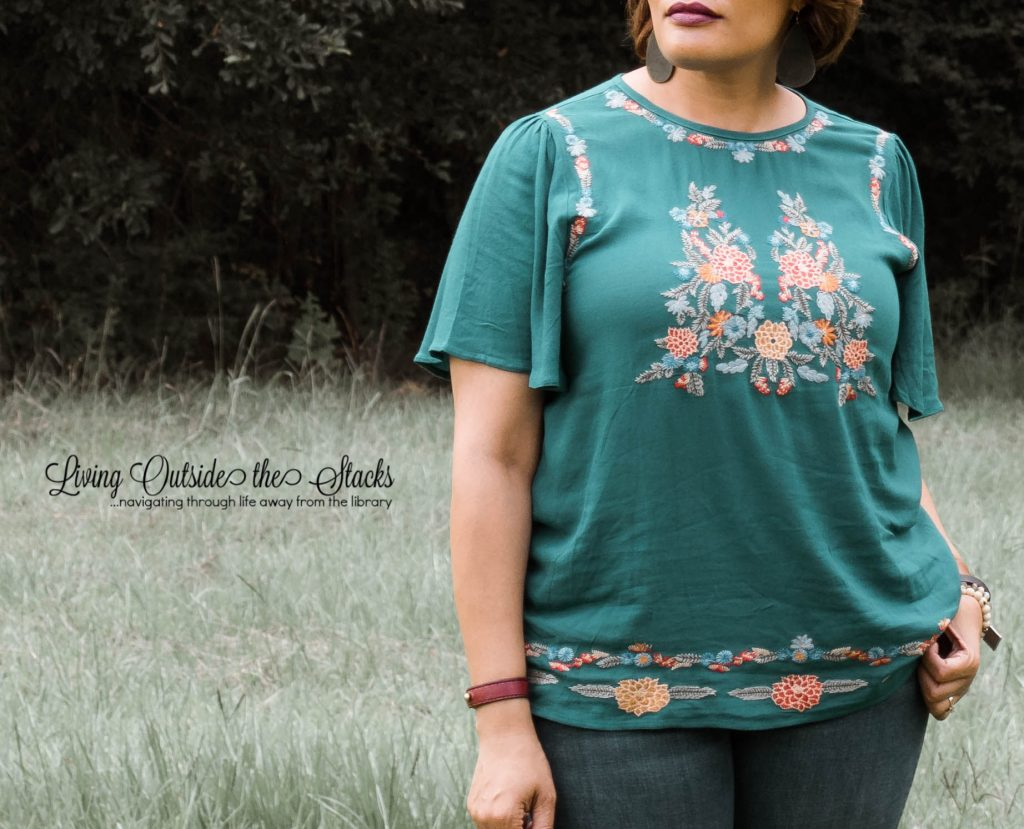 Teal Embroidered Blouse from Olive Ave Boutique {living outside the stacks}