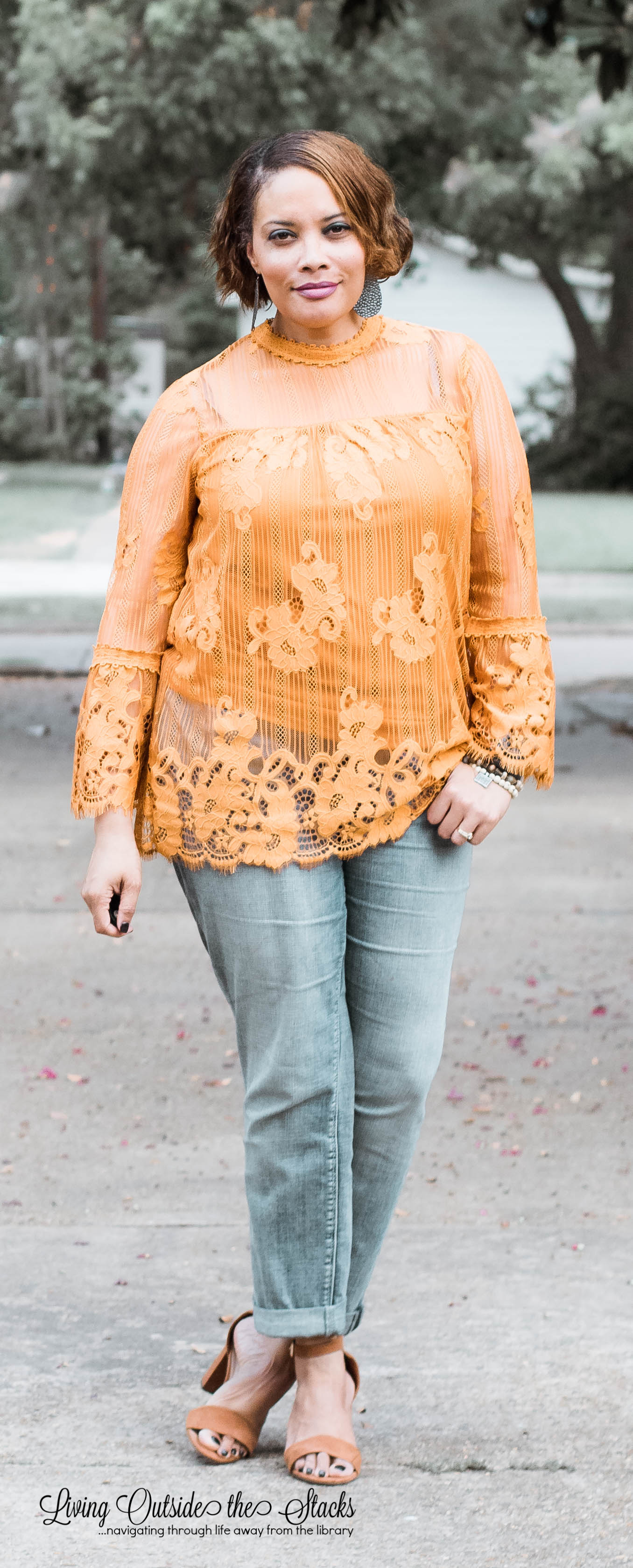 gold lace top with boyfriend jeans and brown sandals {living outside the stacks}