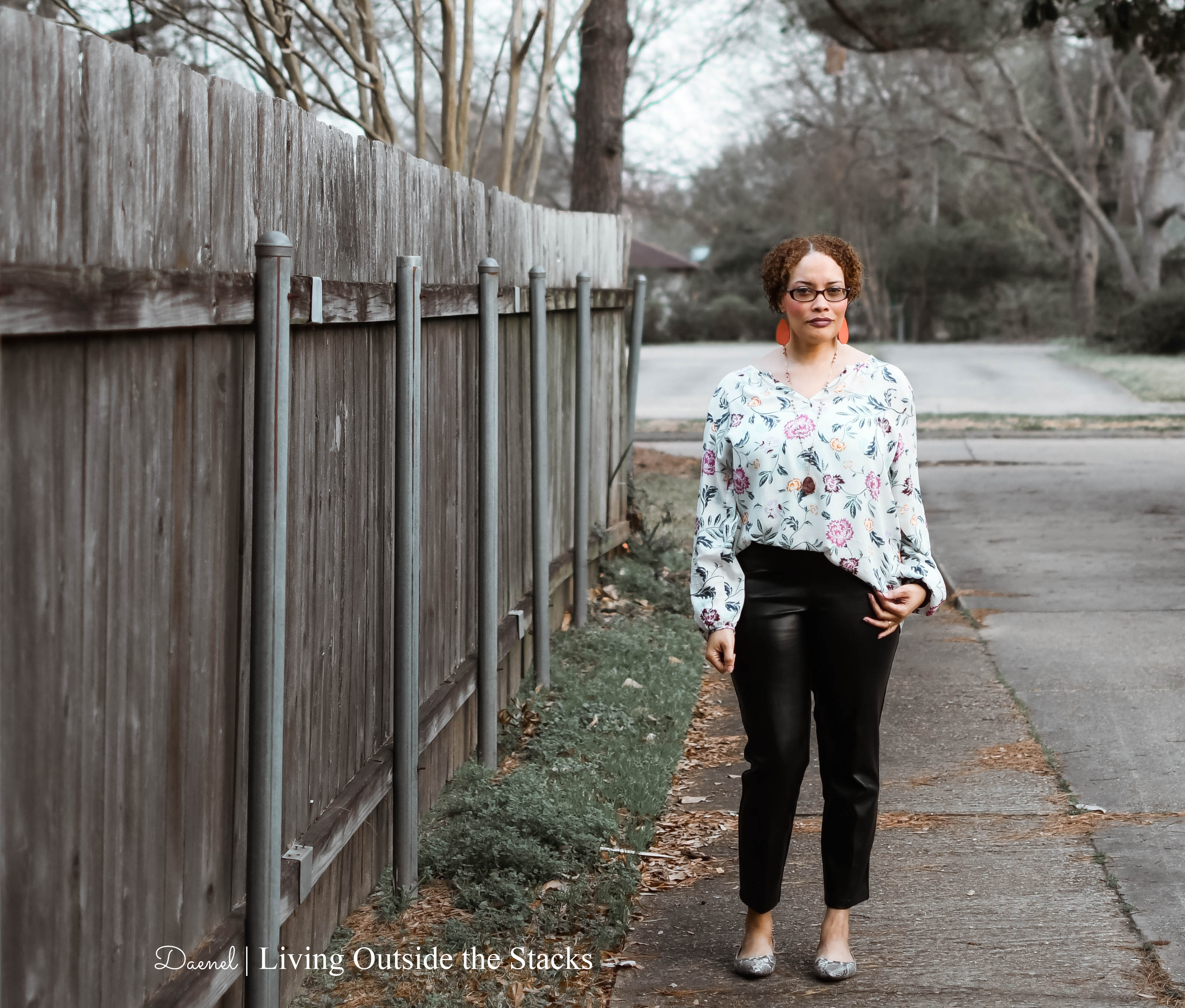 Style Imitating Art {living outside the stacks} floral tunic black faux leather pants and snake print flats
