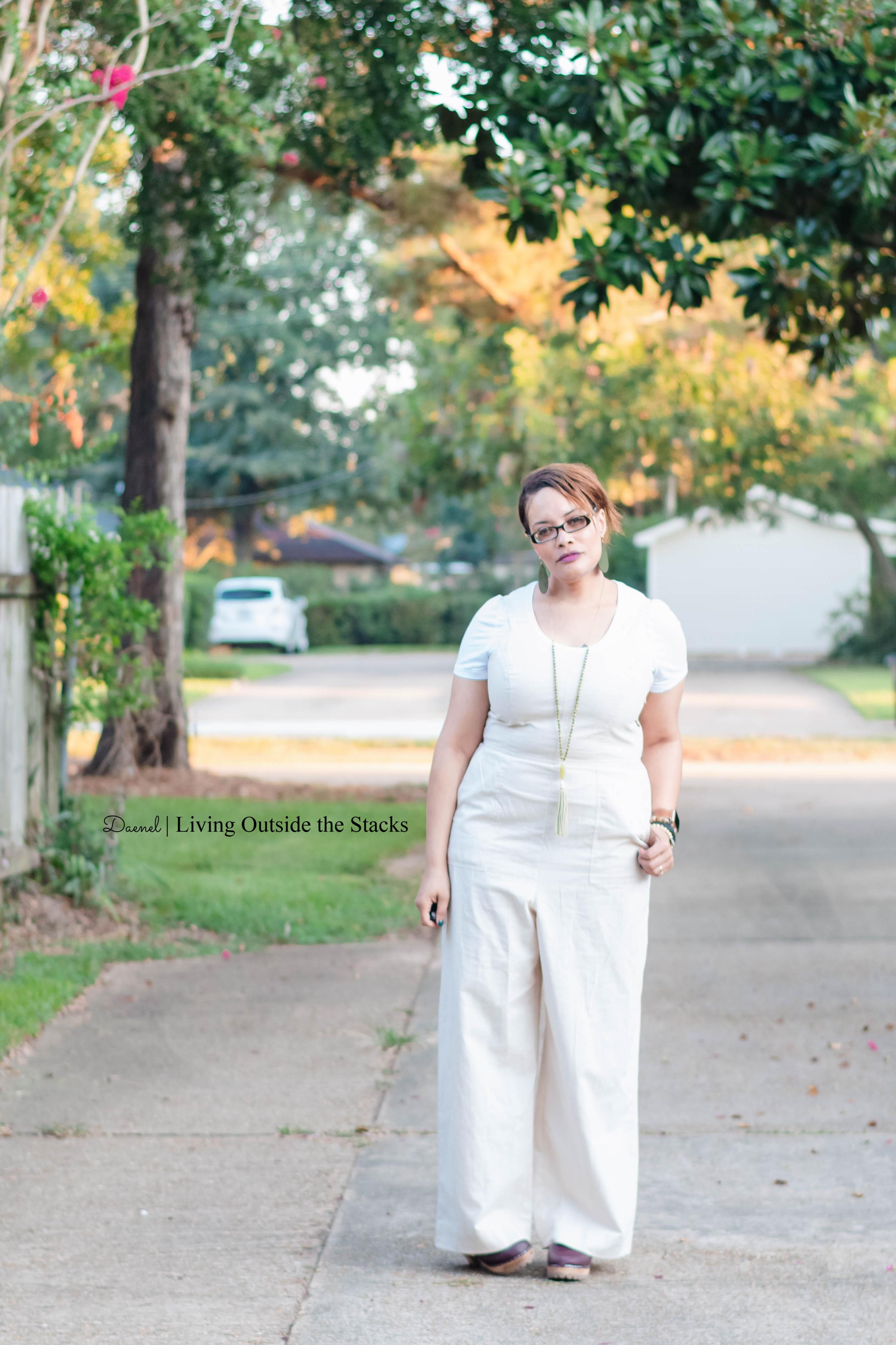 White Tee Khaki Jumpsuit and Wine MIA Clogs {living outside the stacks} Style Imitating Art