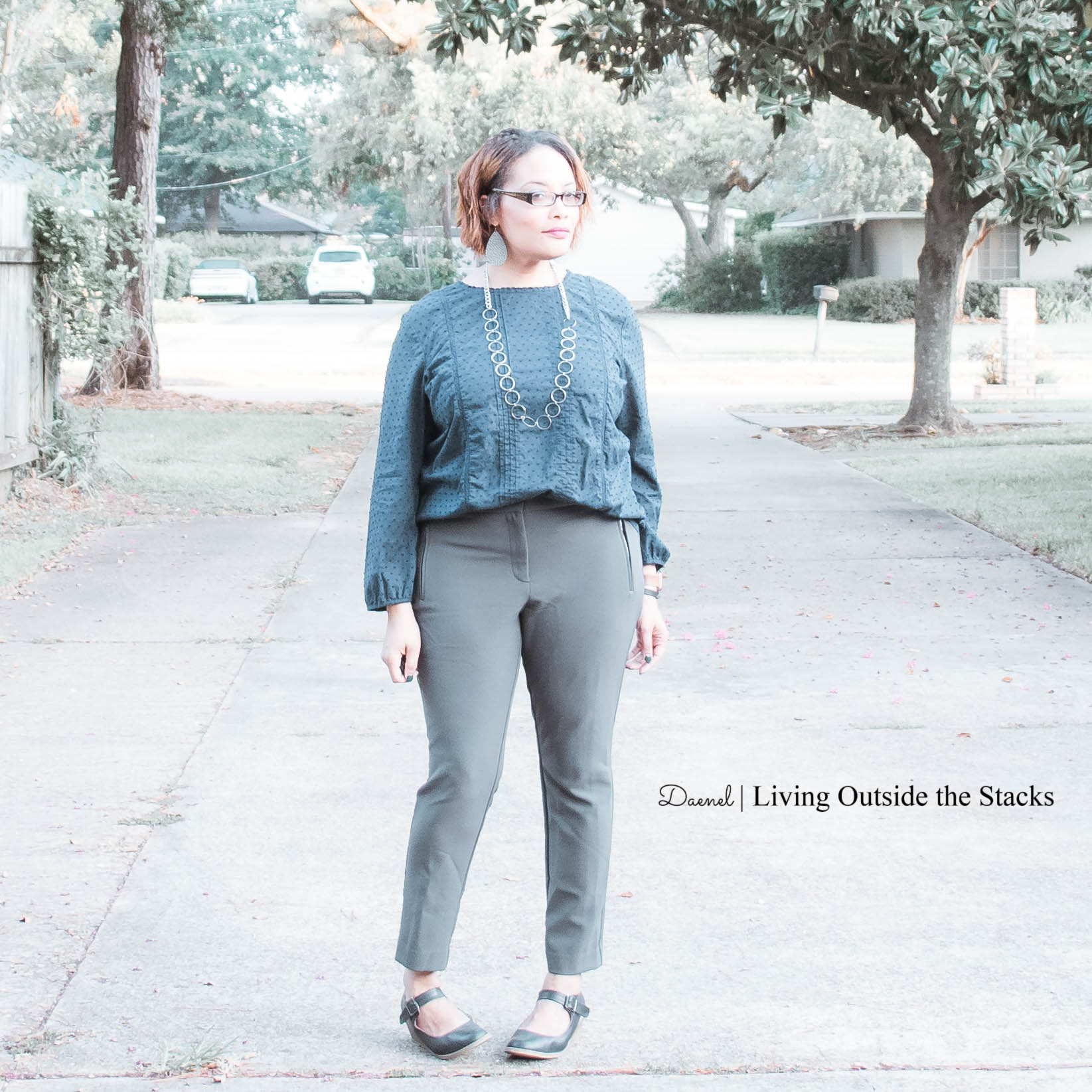 Blue Eyelet Top Gray Ankle Pants Blue Mary Janes {living outside the stacks}
