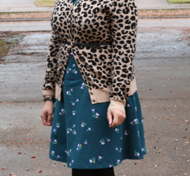 Animal Print Cardigan Floral Dress and Brown Boots {living outside the stacks}