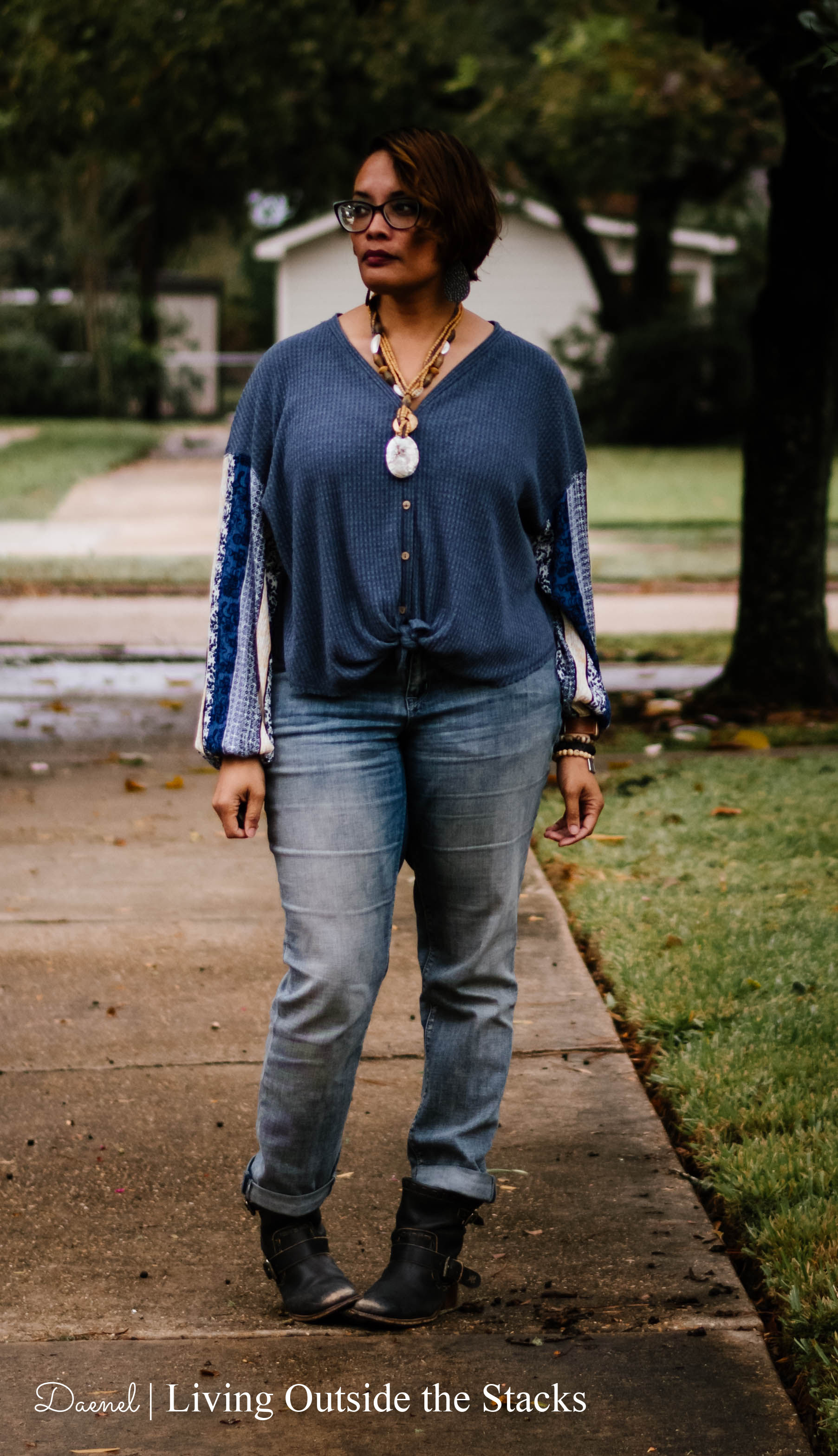 Blue Top Necklace Boyfriend Jeans and Boots {living outside the stacks}
