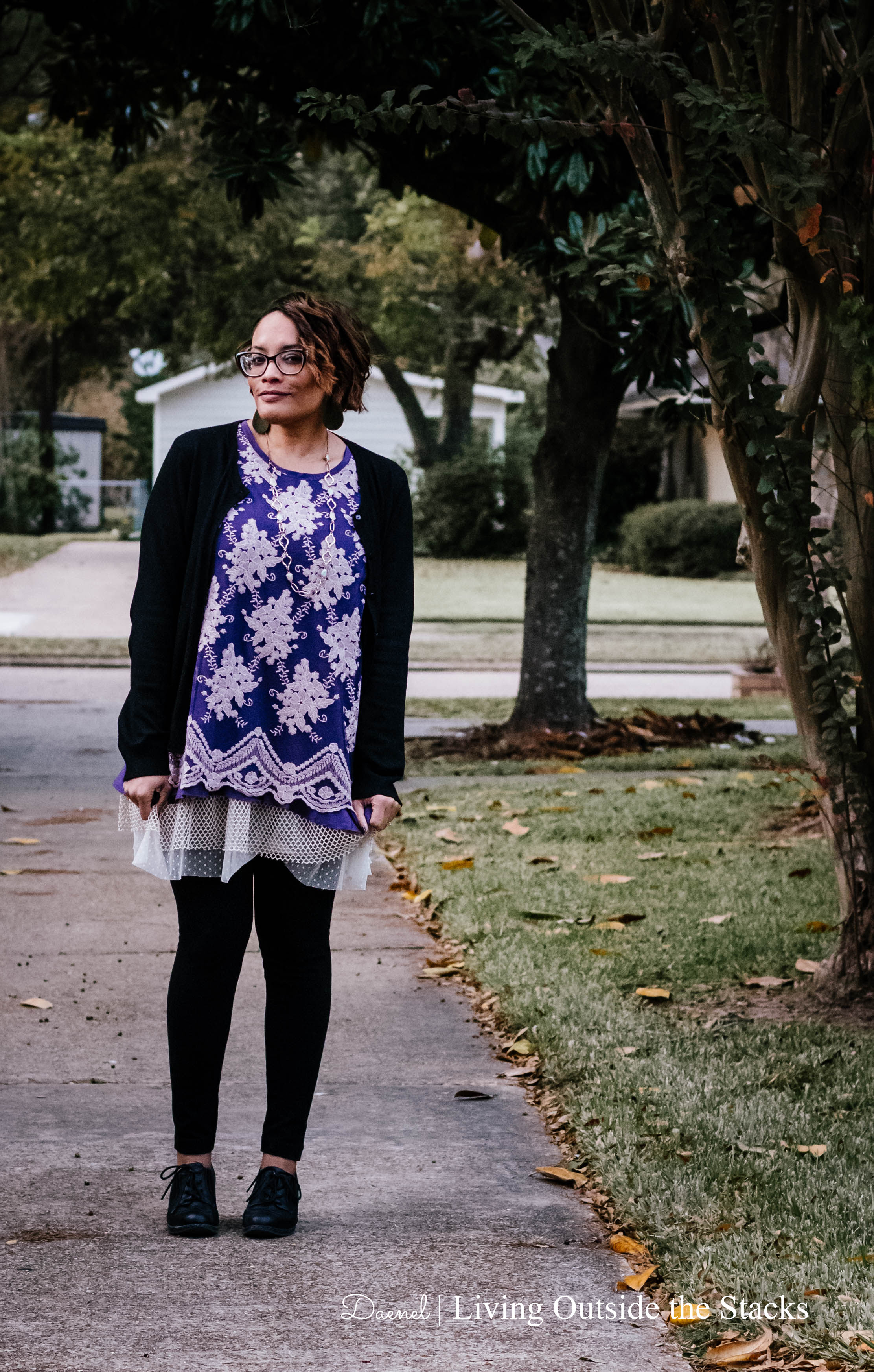 Logo Embroidered Tunic Black Cardigan Black Leggings and Oxfords {living outside the stacks}