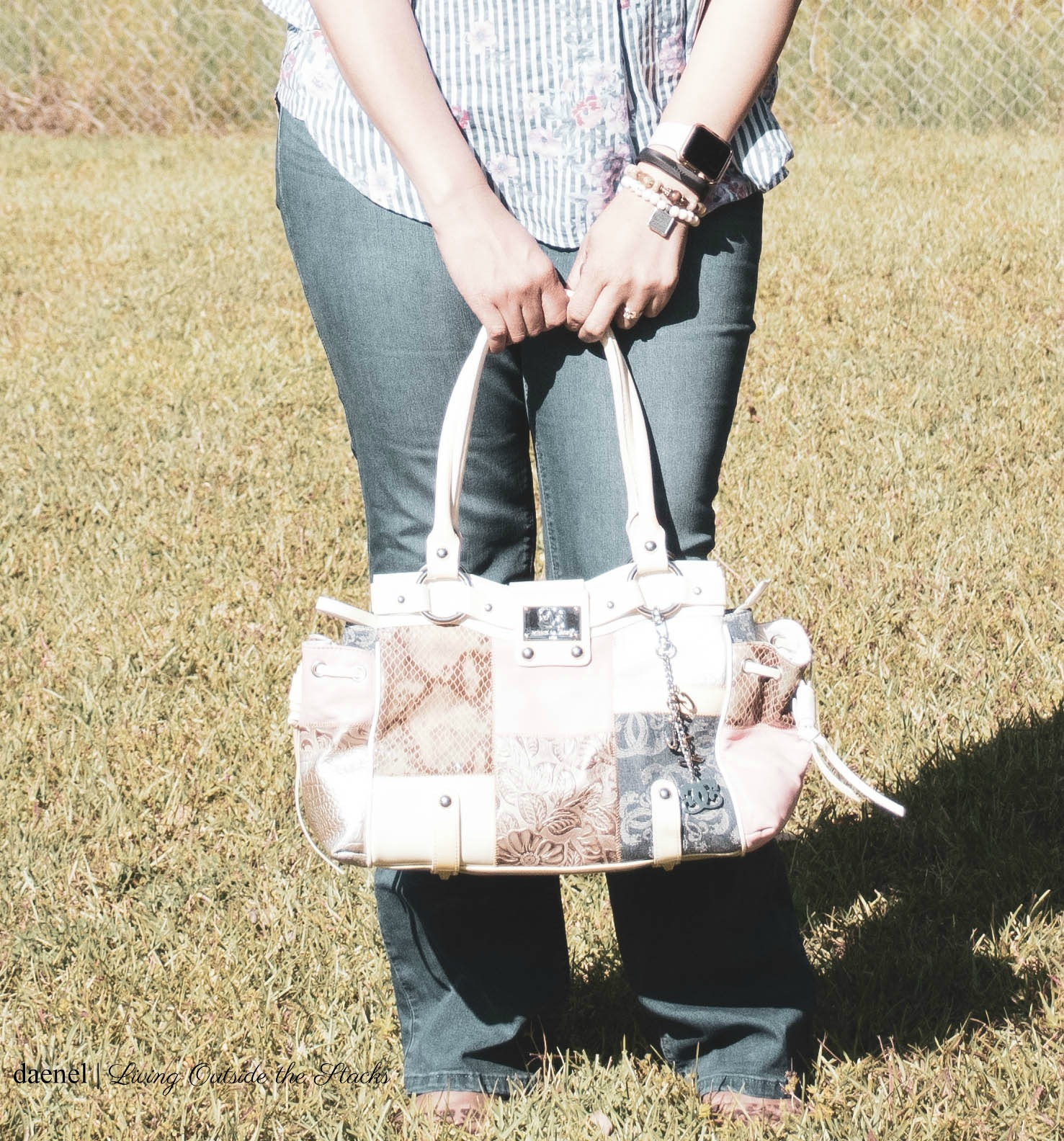 Striped Blouse Curve Jeans and Snake Print Bag {living outside the stacks}