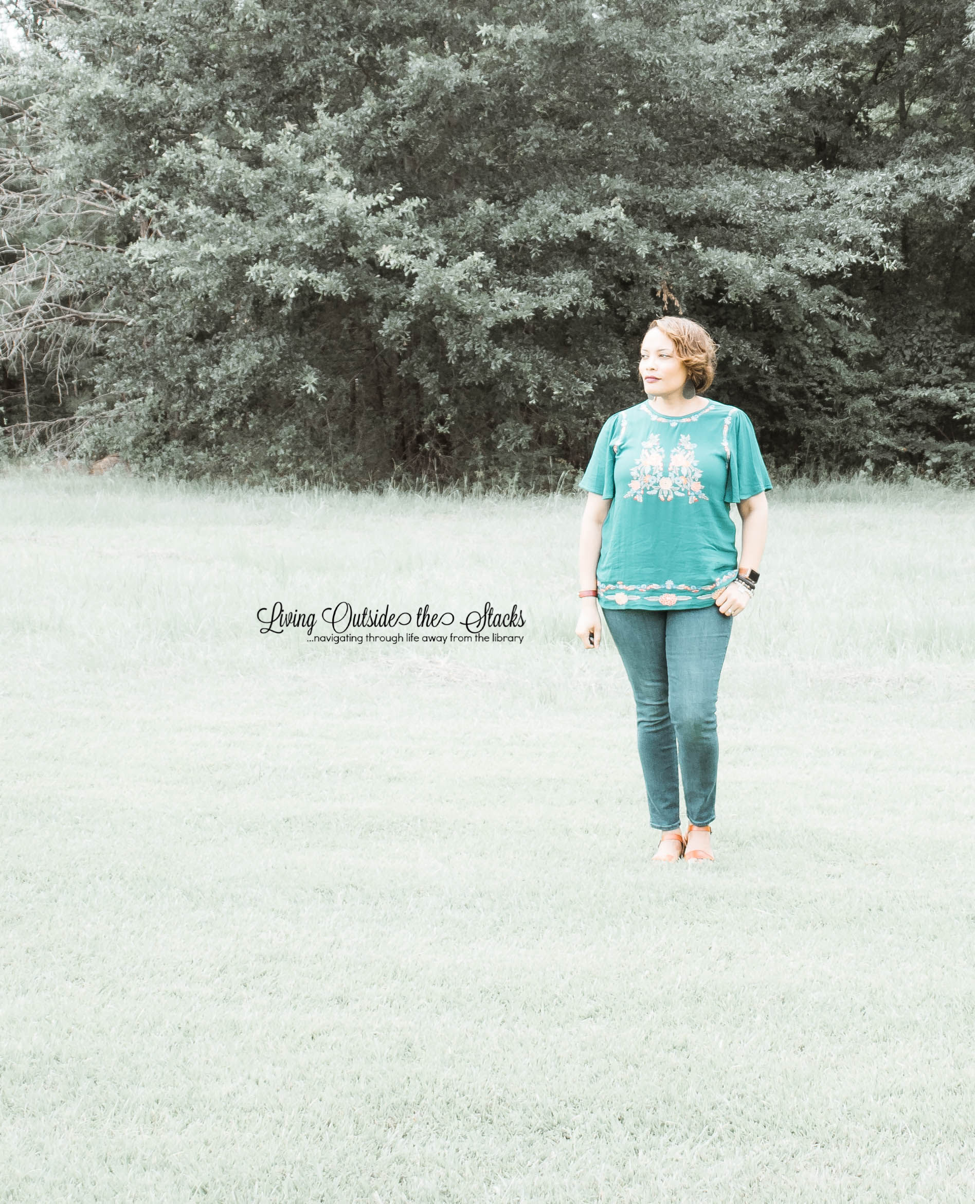 Teal Embroidered Blouse Skinny Jeans and Brown Sandals {living outside the stacks}